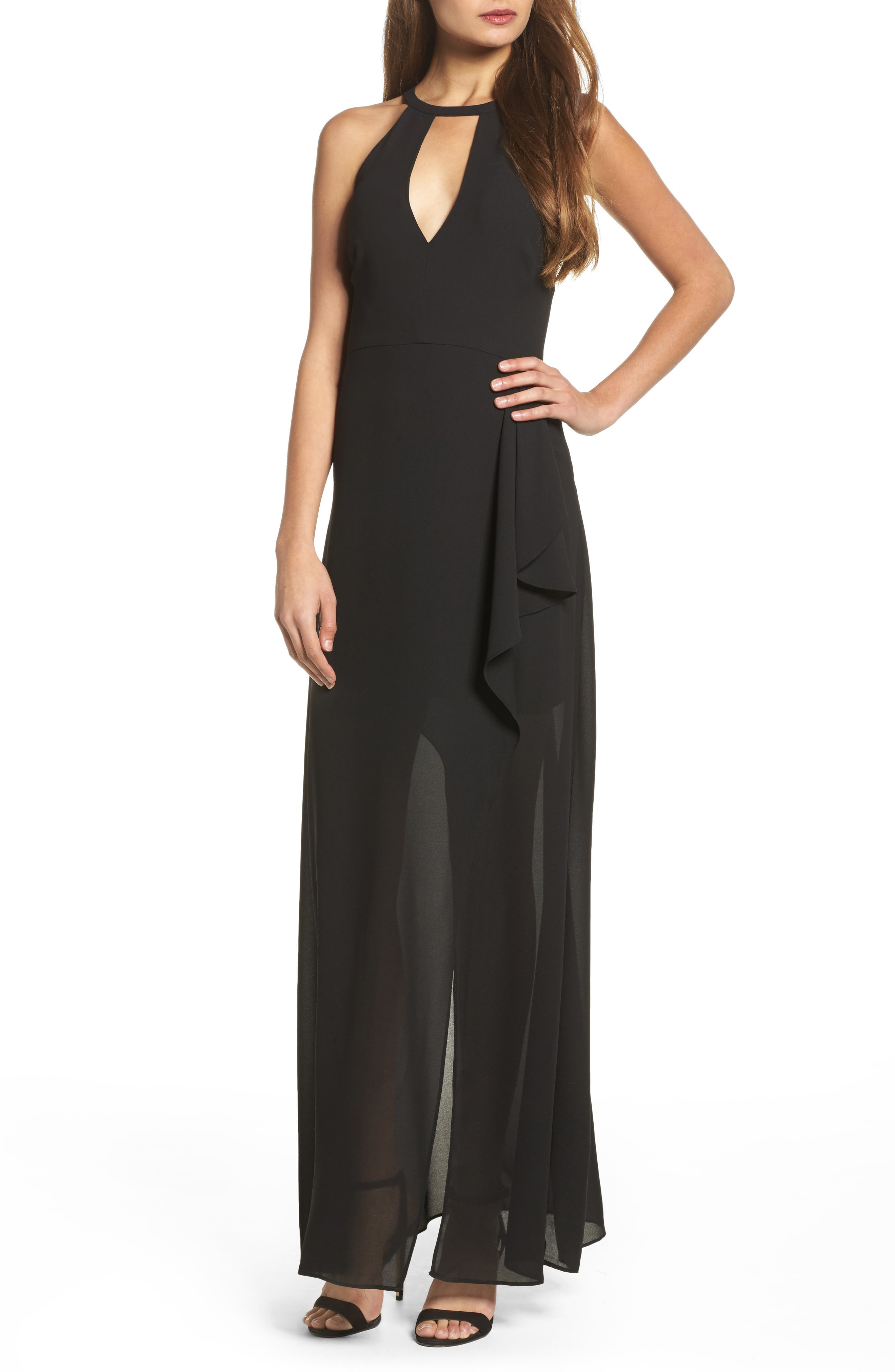 I Spy Maxi Dress,                             Main thumbnail 1, color,                             Black