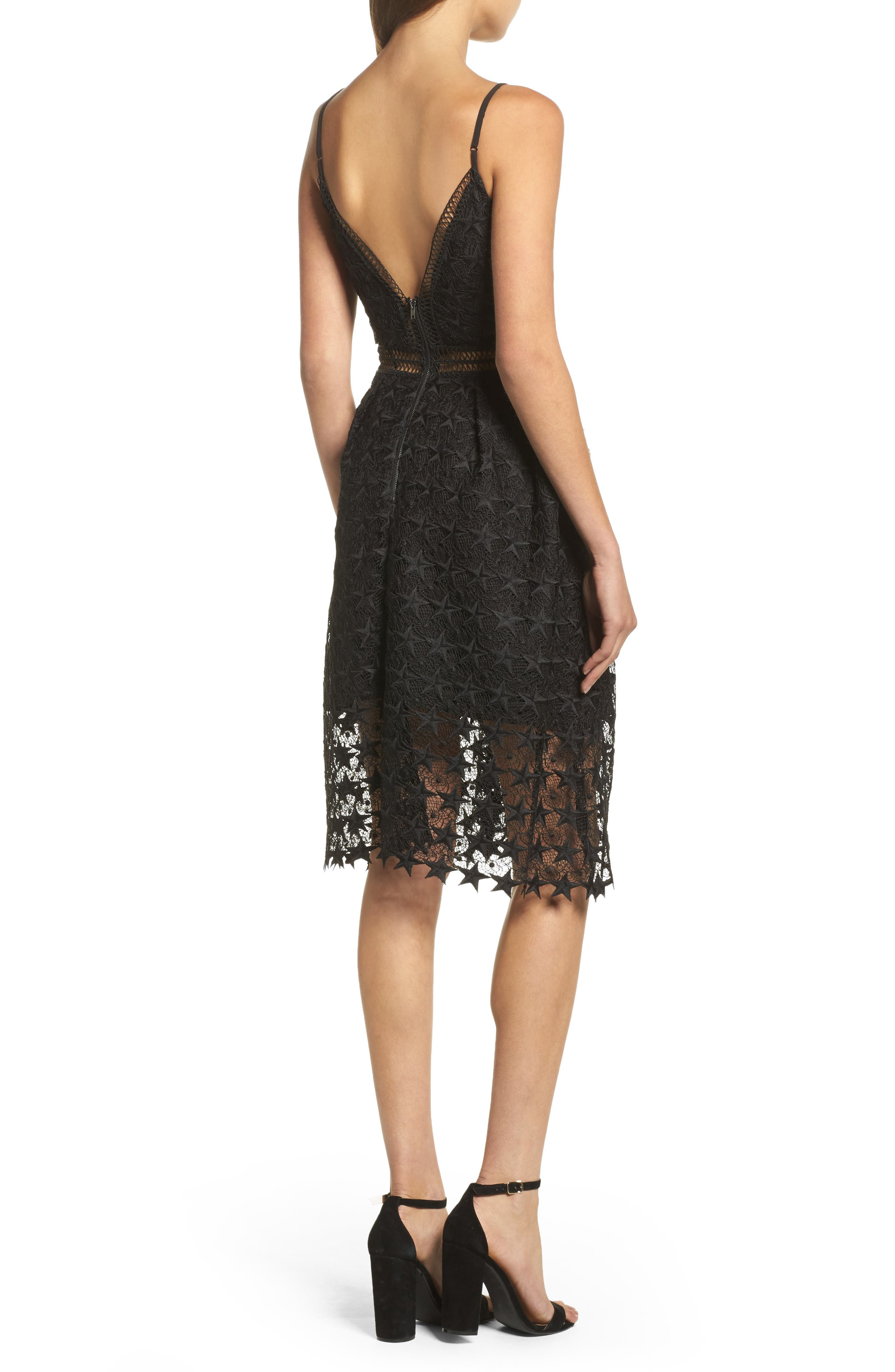 Star Lace Fit & Flare Dress,                             Alternate thumbnail 2, color,                             Black Star