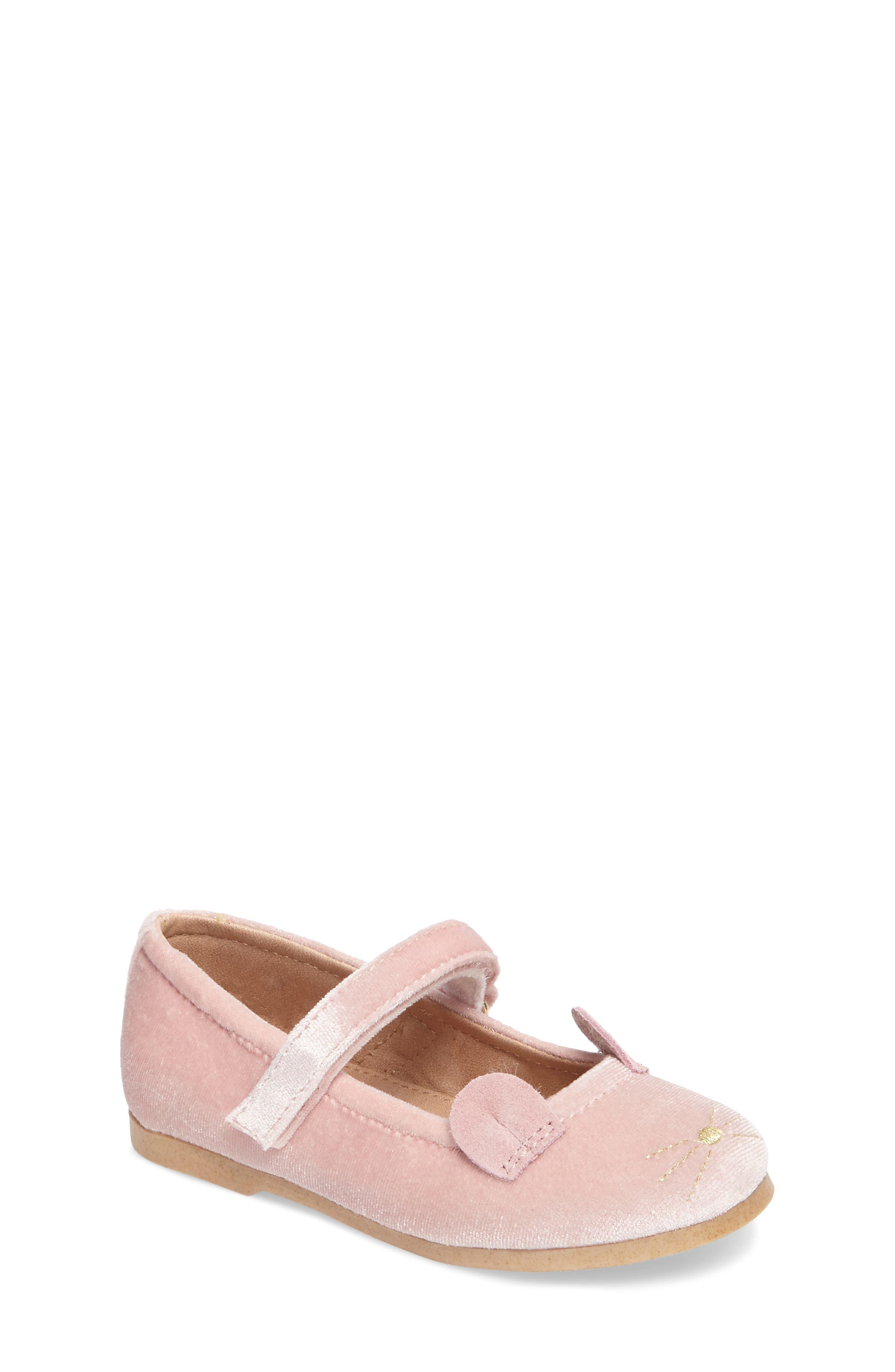 Mouse Mary Jane Flat,                         Main,                         color, Blush Velvet Fabric