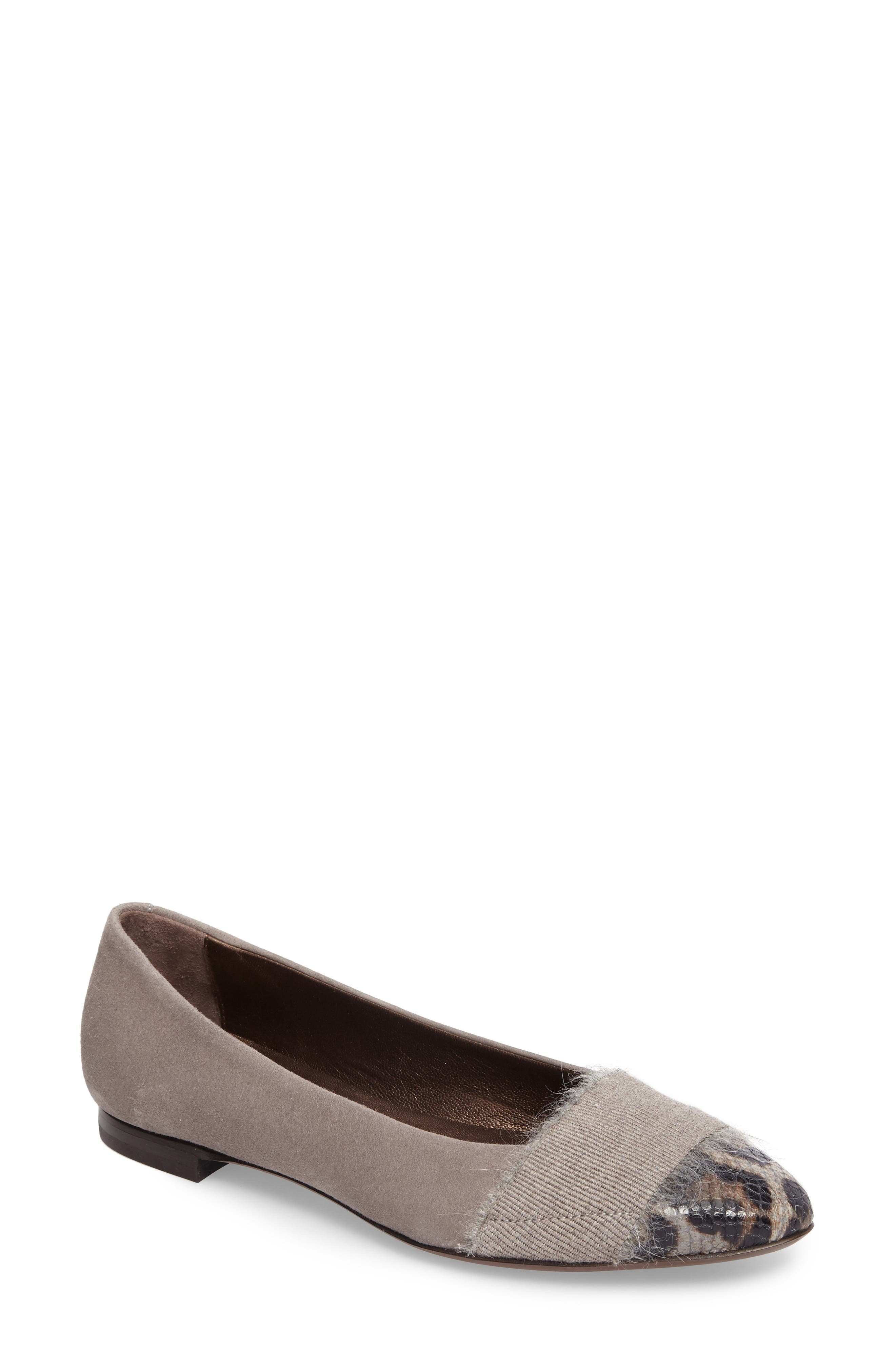 Belted Ballet Flat,                             Main thumbnail 1, color,                             Pewter Suede
