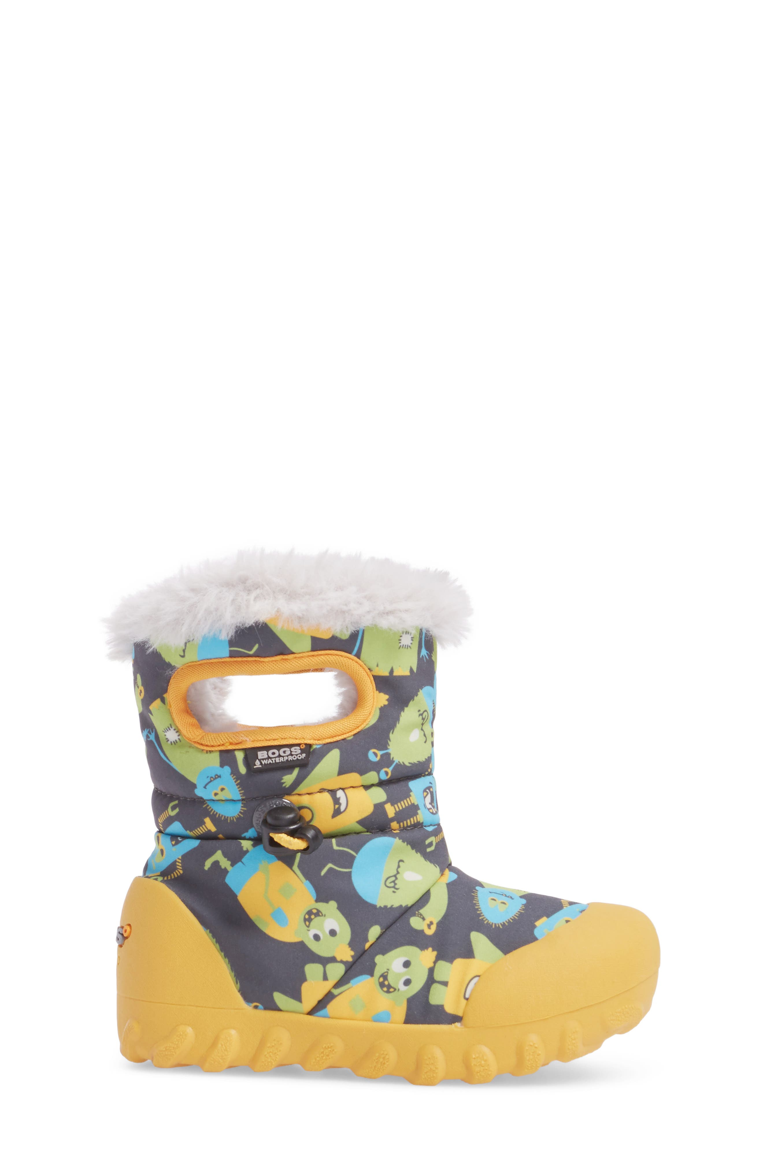B-MOC Monsters Waterproof Insulated Faux Fur Winter Boot,                             Alternate thumbnail 3, color,                             Dark Gray Multi