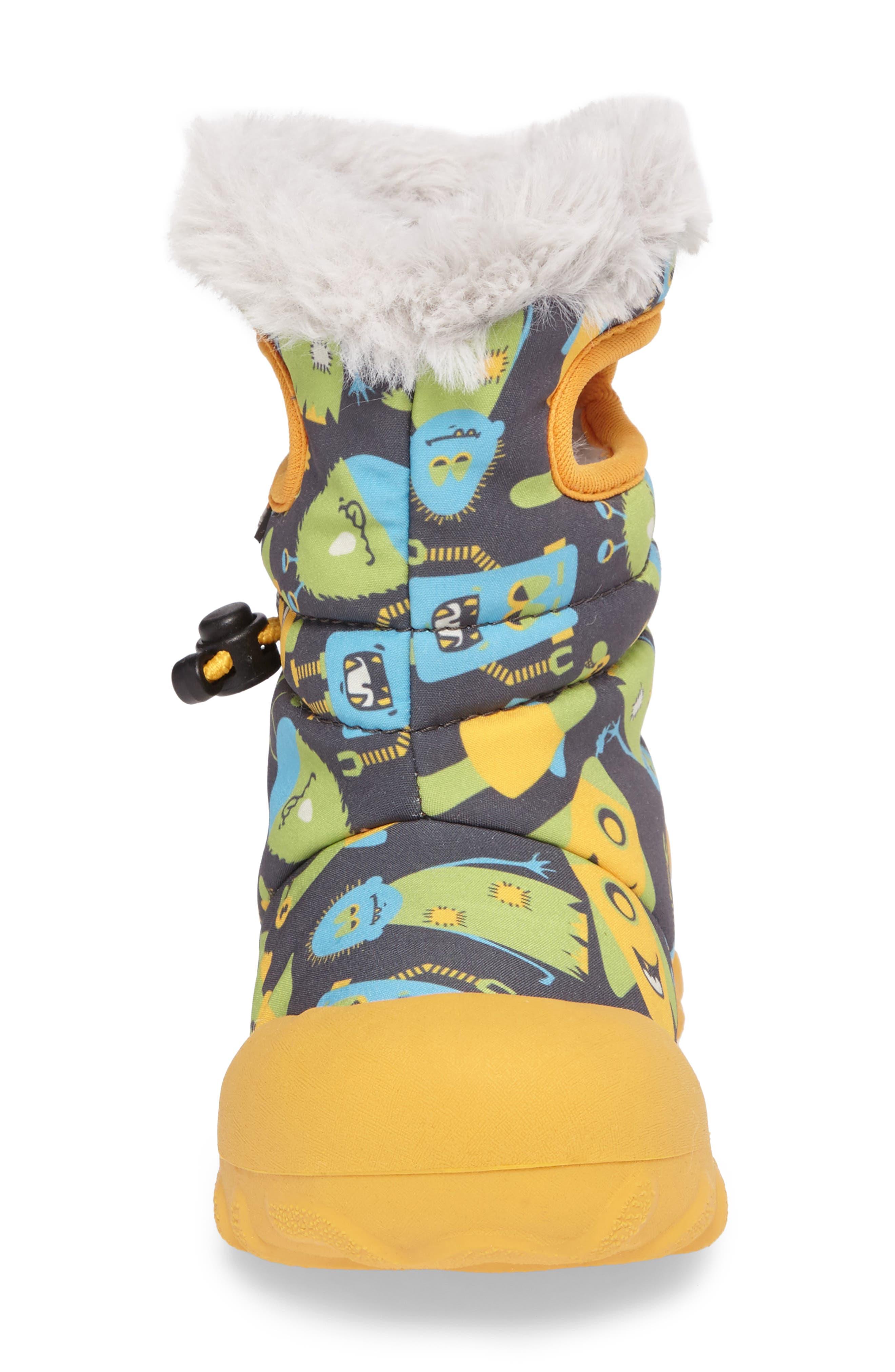 B-MOC Monsters Waterproof Insulated Faux Fur Winter Boot,                             Alternate thumbnail 4, color,                             Dark Gray Multi
