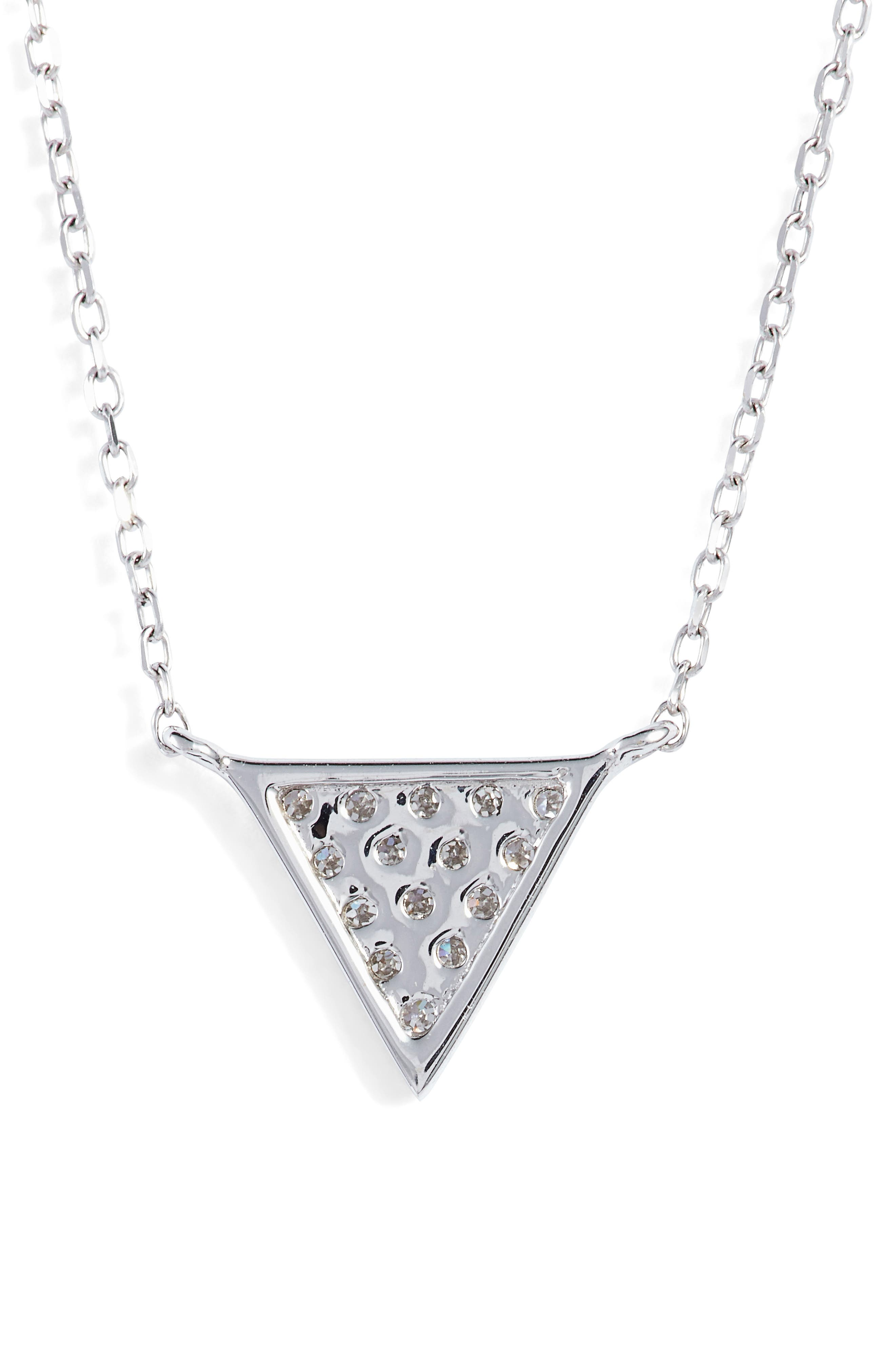 'Emily Sarah' Diamond Triangle Pendant Necklace,                             Alternate thumbnail 4, color,                             White Gold