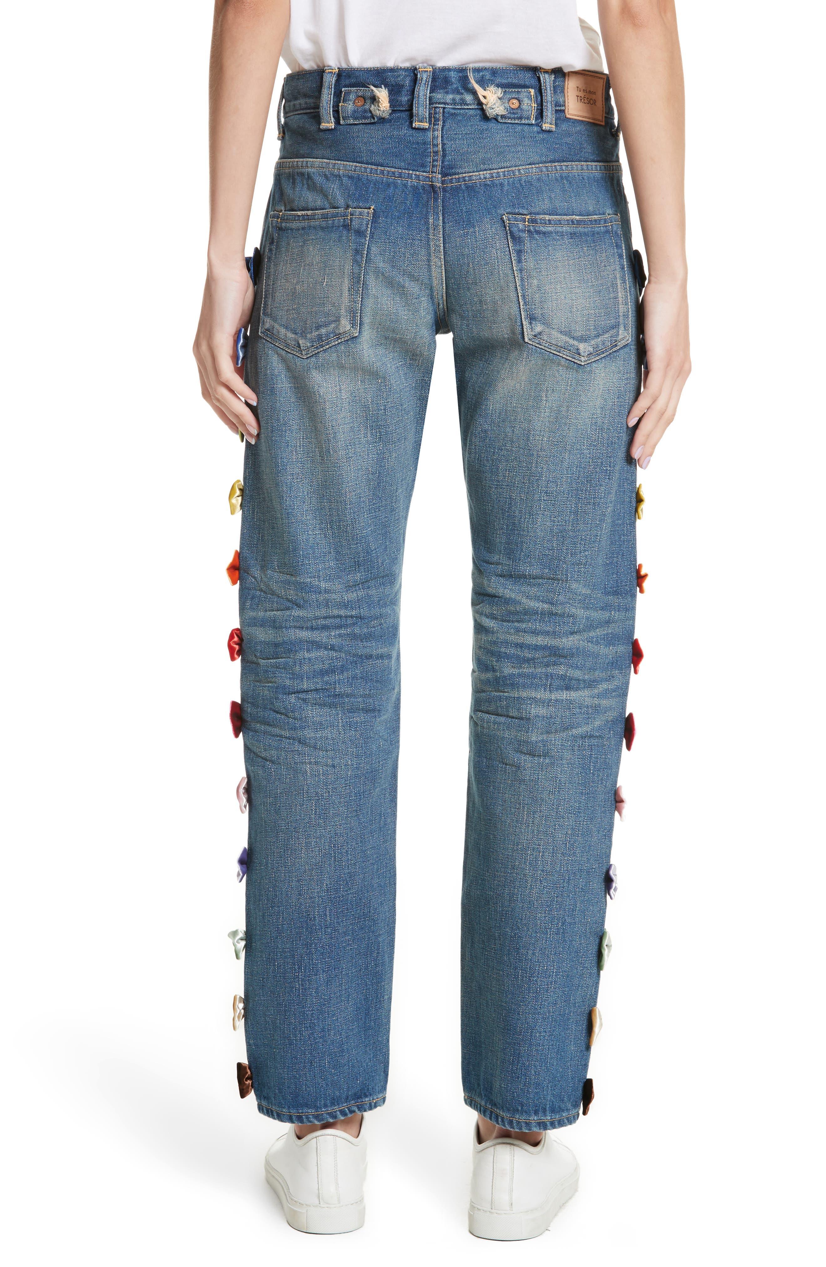 Alternate Image 3  - Tu es mon TRESOR Velvet Side Bow Jeans