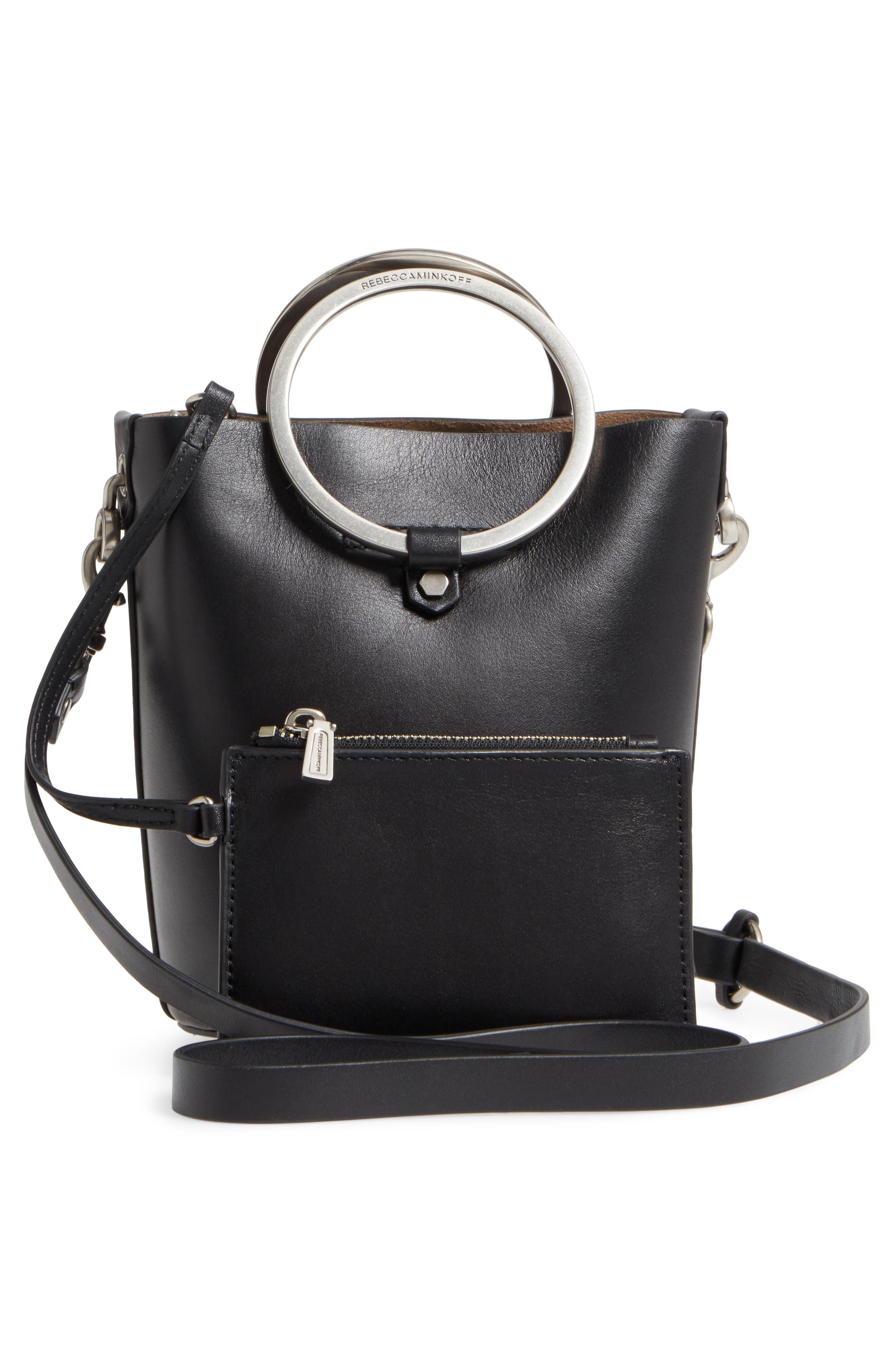 Ring Leather Bucket Bag,                             Alternate thumbnail 3, color,                             Black