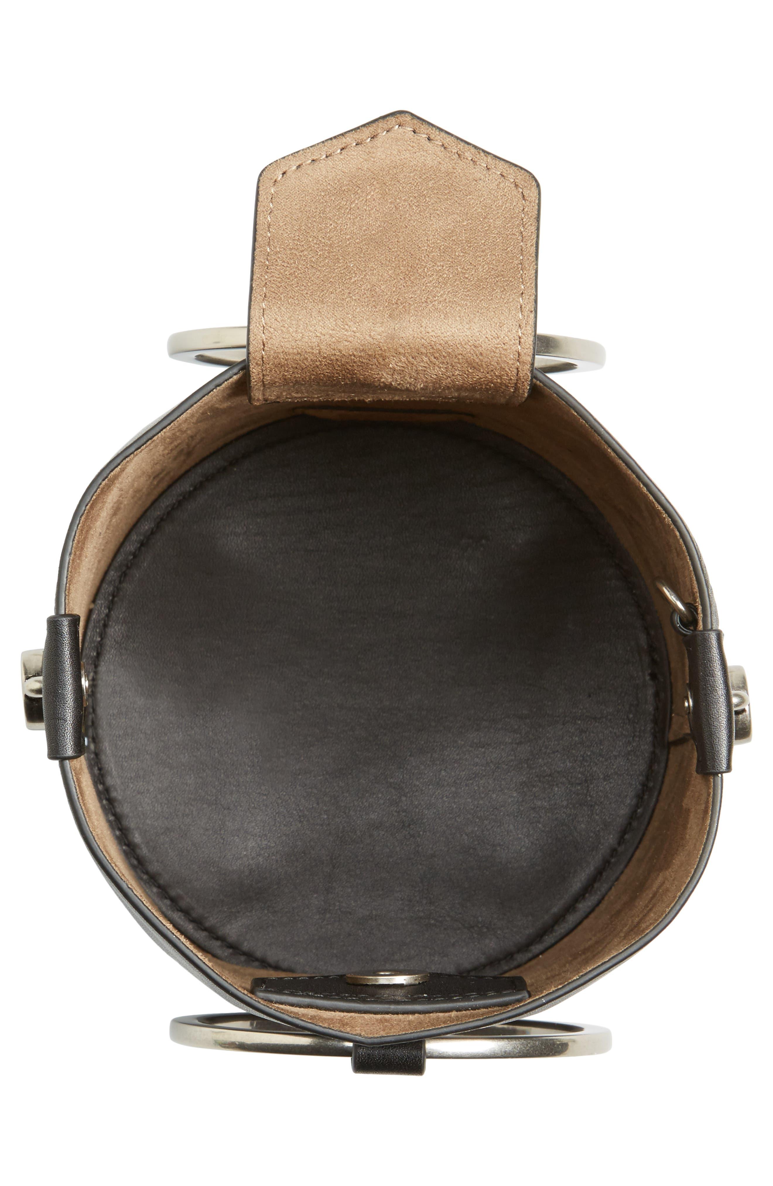 Ring Leather Bucket Bag,                             Alternate thumbnail 4, color,                             Black