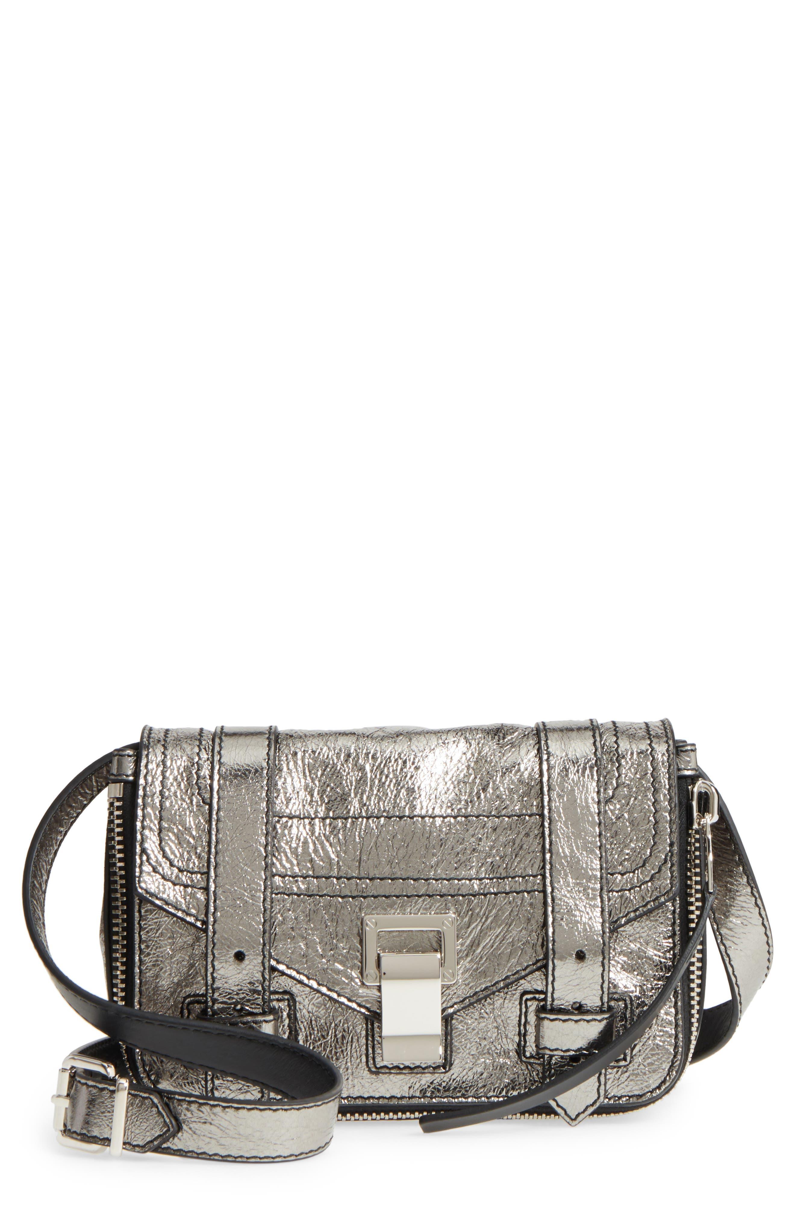 Mini PS1 Metallic Leather Crossbody Bag,                             Main thumbnail 1, color,                             Dark Silver