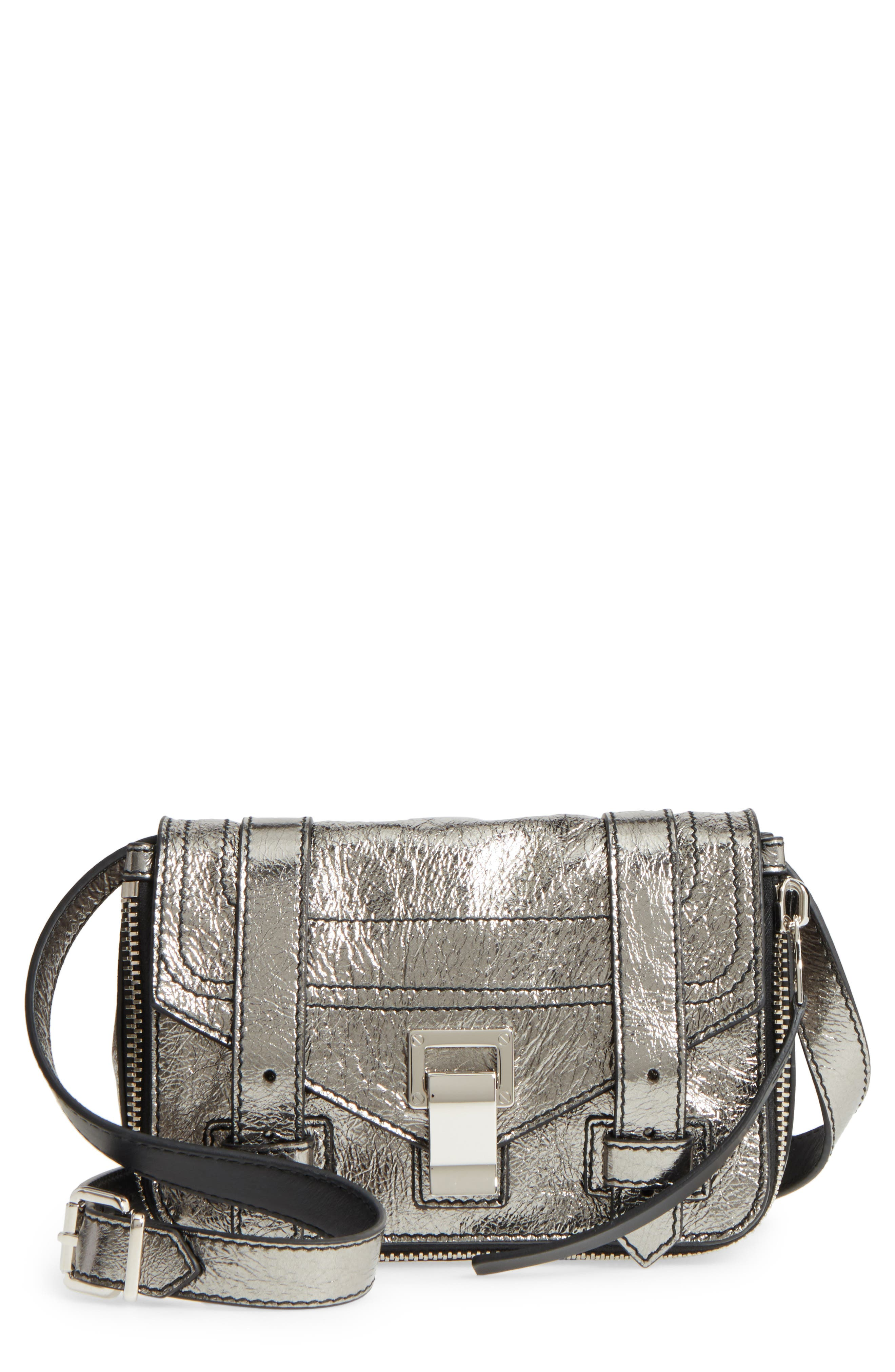 Mini PS1 Metallic Leather Crossbody Bag,                         Main,                         color, Dark Silver