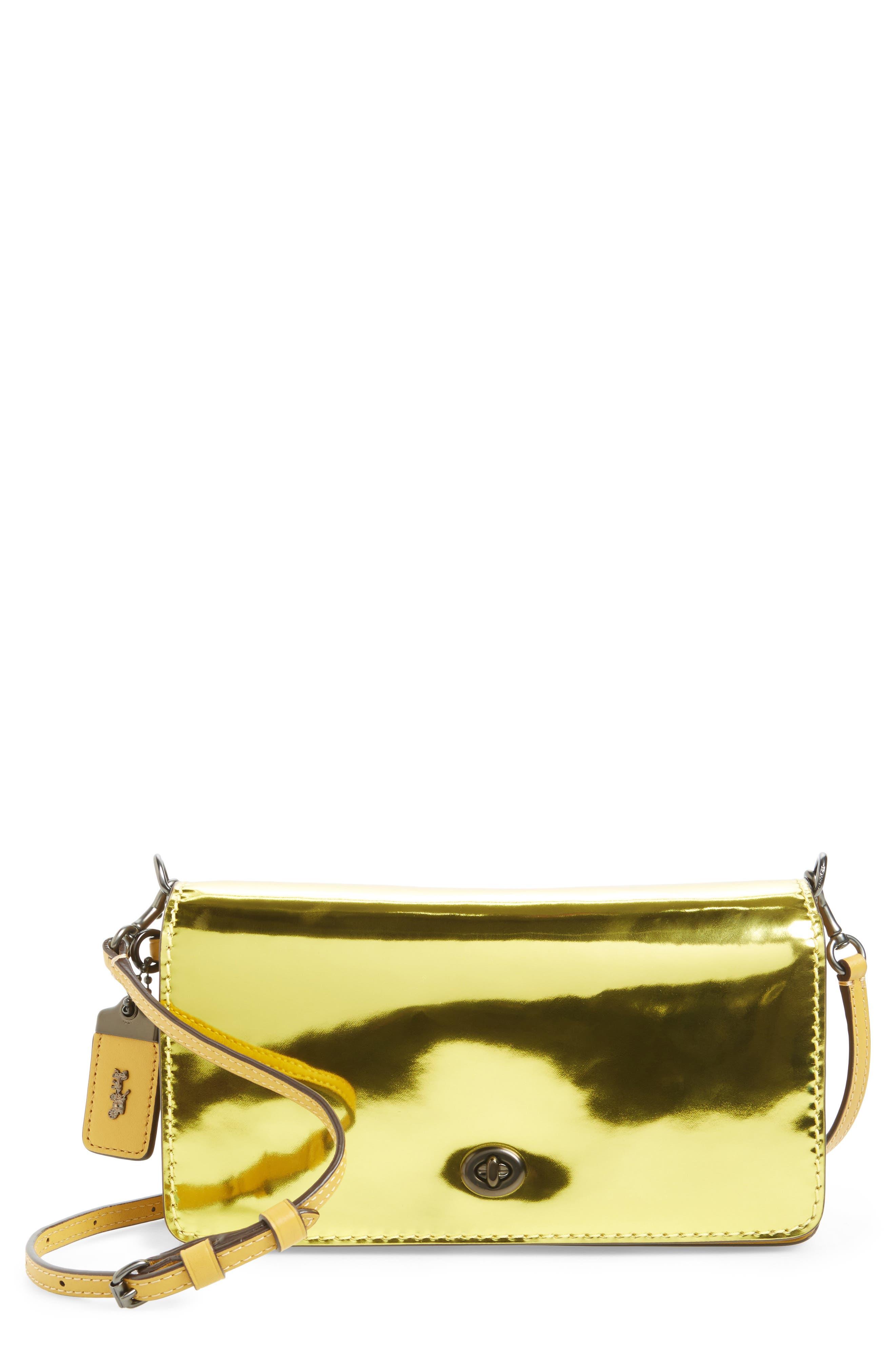 High Shine Dinky Metallic Leather Crossbody Bag,                         Main,                         color, Metallic Lemon