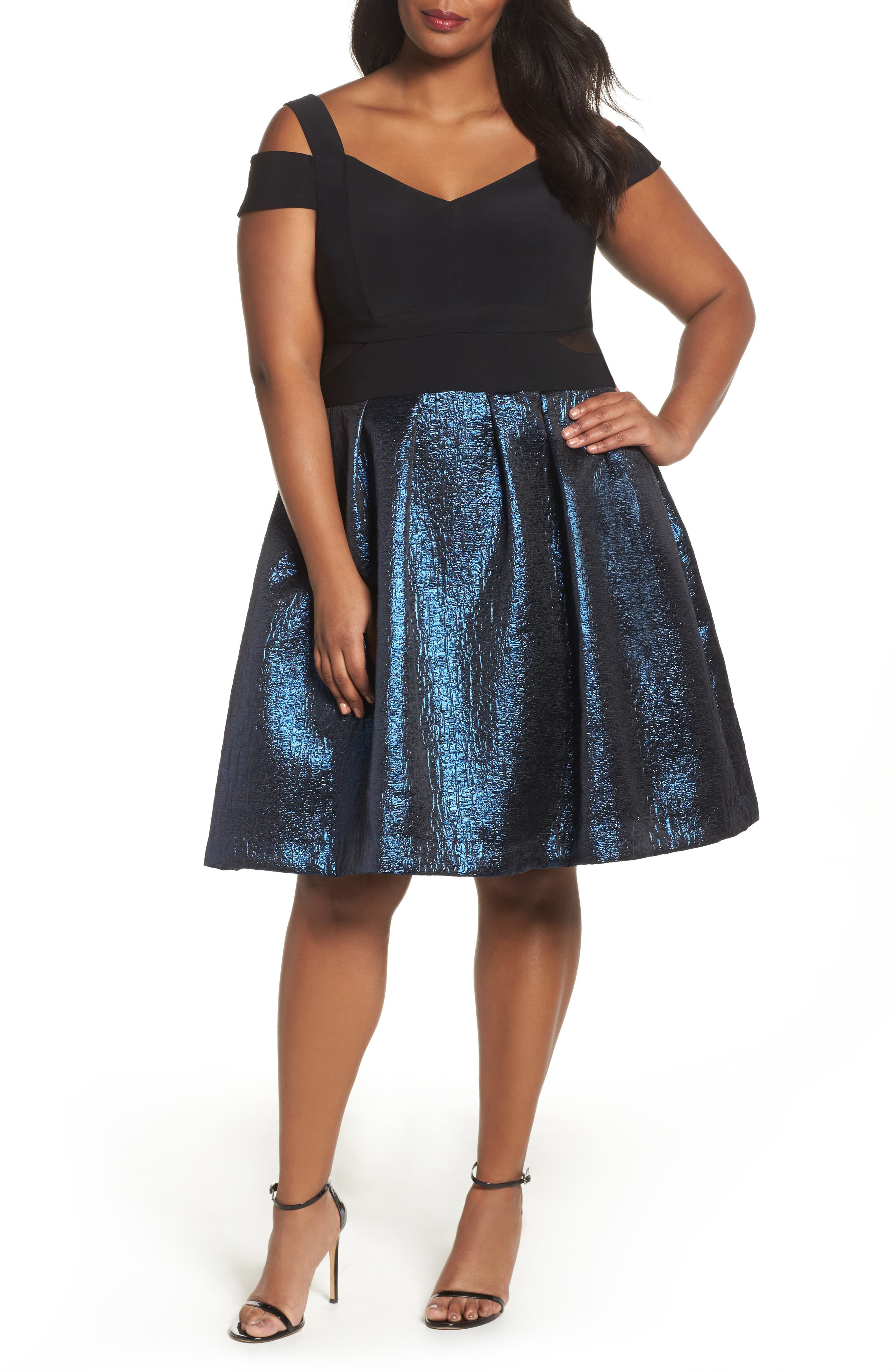 Alternate Image 1 Selected - Xscape Cold Shoulder Mixed Media Party Dress (Plus Size)