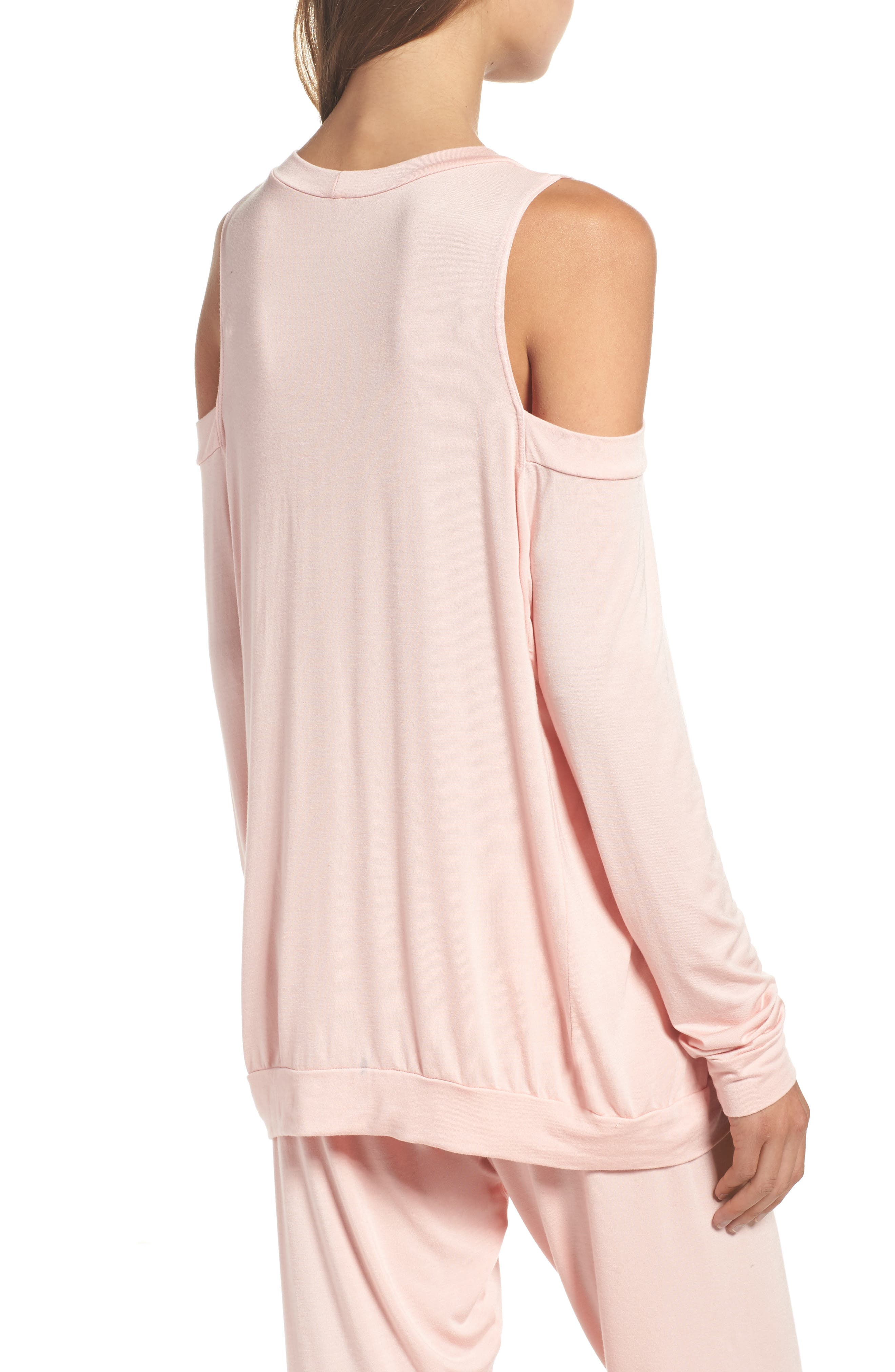 Roma Cold Shoulder Pullover,                             Alternate thumbnail 2, color,                             Dream Pink