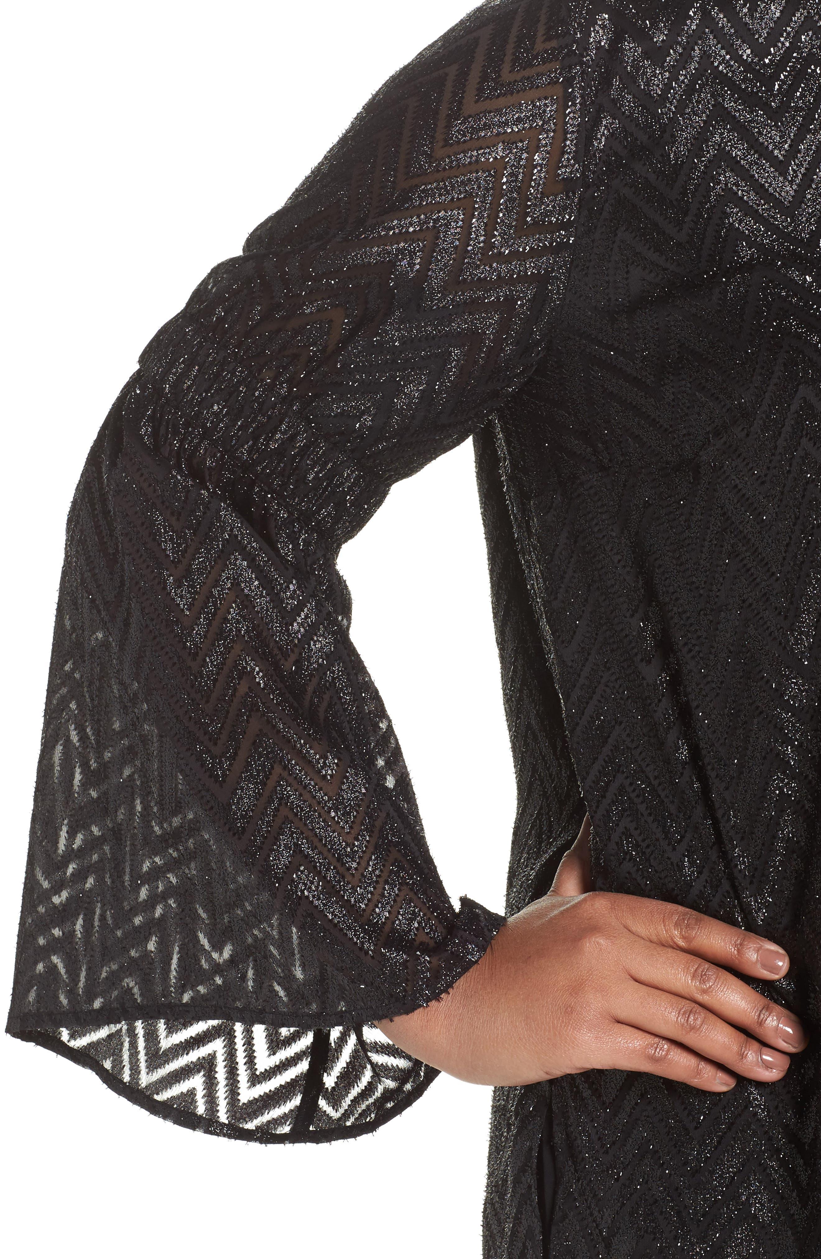Bell Sleeve Jacquard Top,                             Alternate thumbnail 4, color,                             Black