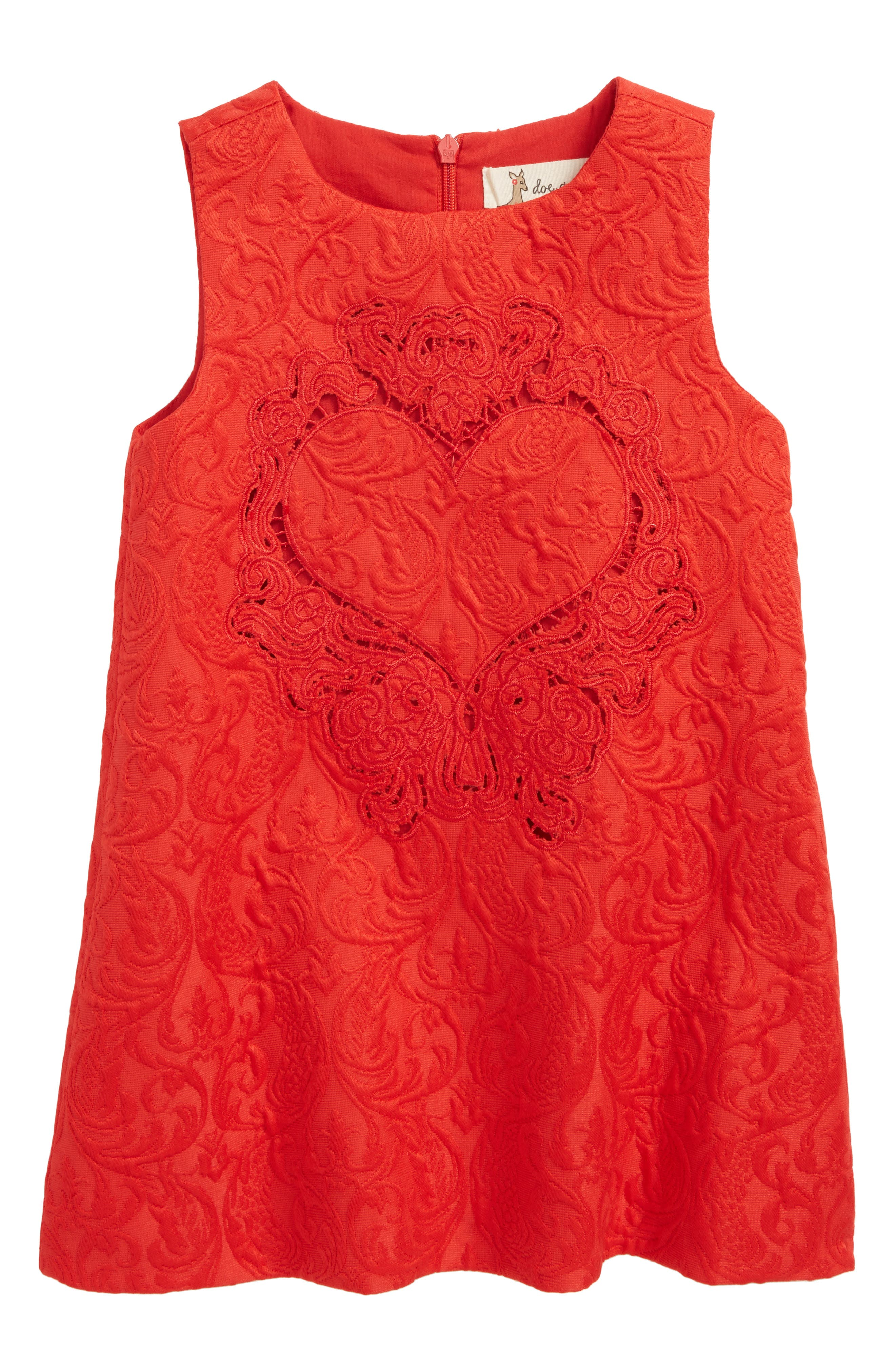 Heart Jacquard Dress,                         Main,                         color, Red