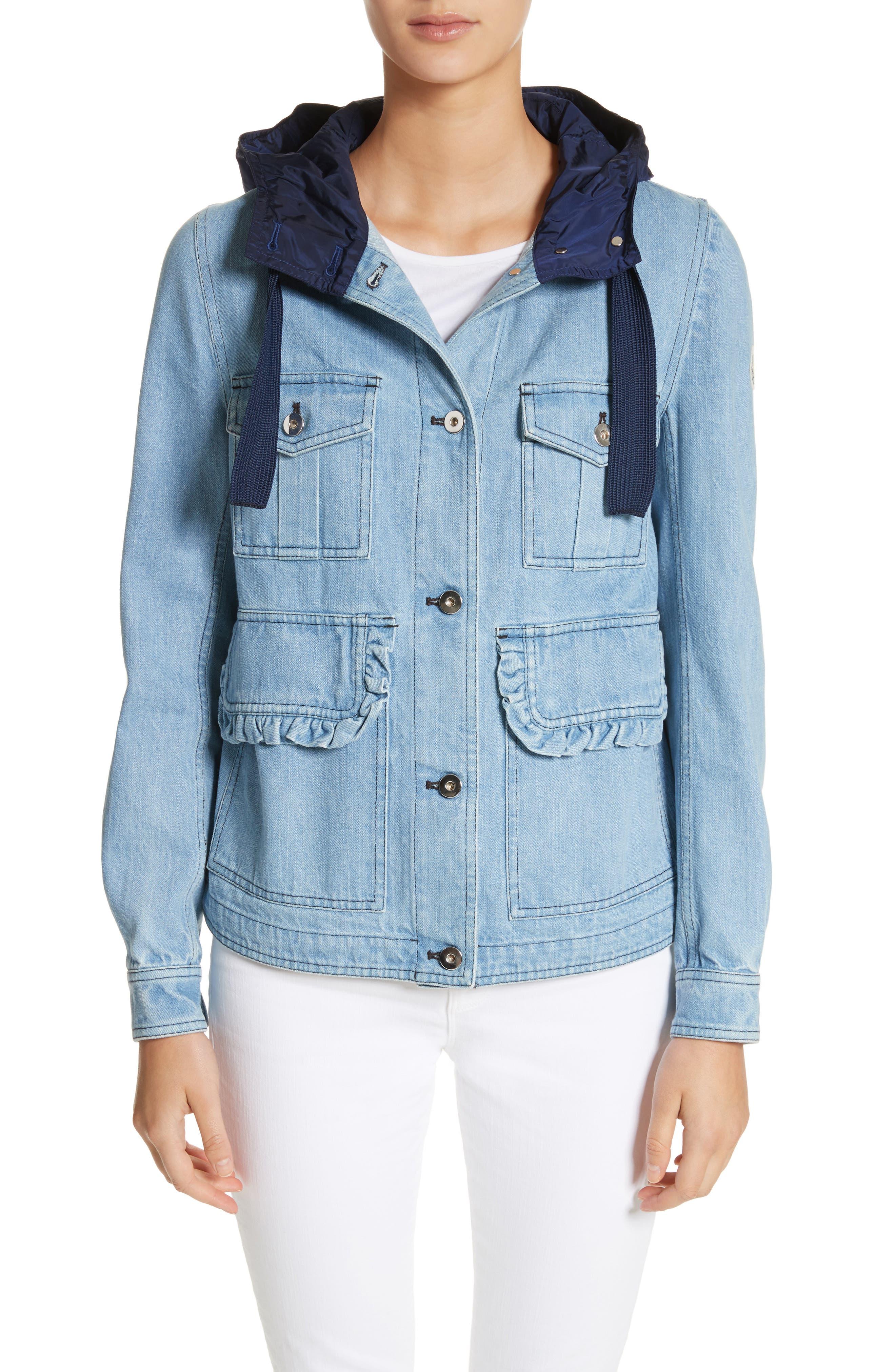 Hooded Denim Jacket,                         Main,                         color, Navy