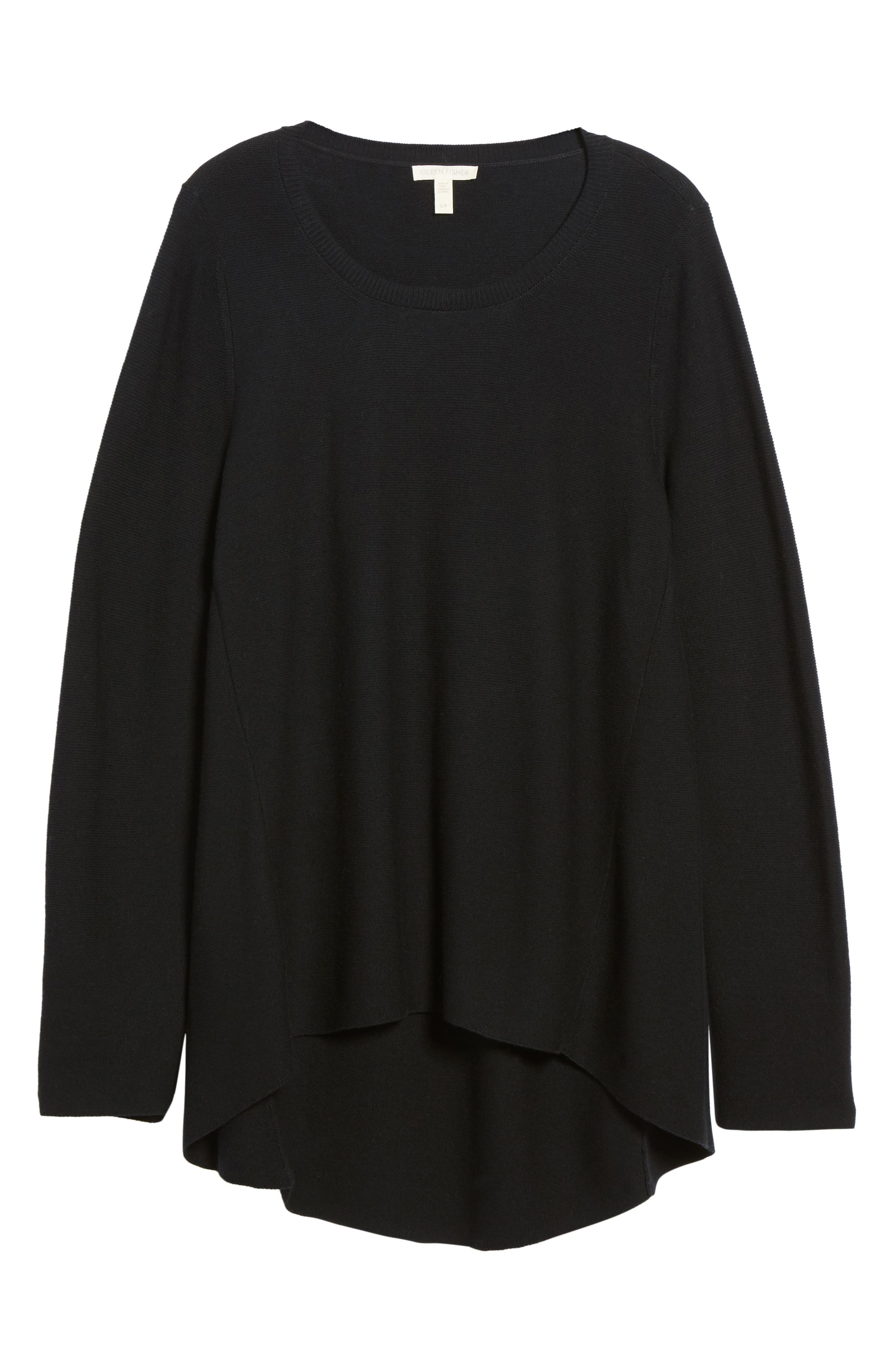 Organic Cotton Tunic Sweater,                             Alternate thumbnail 6, color,                             Black