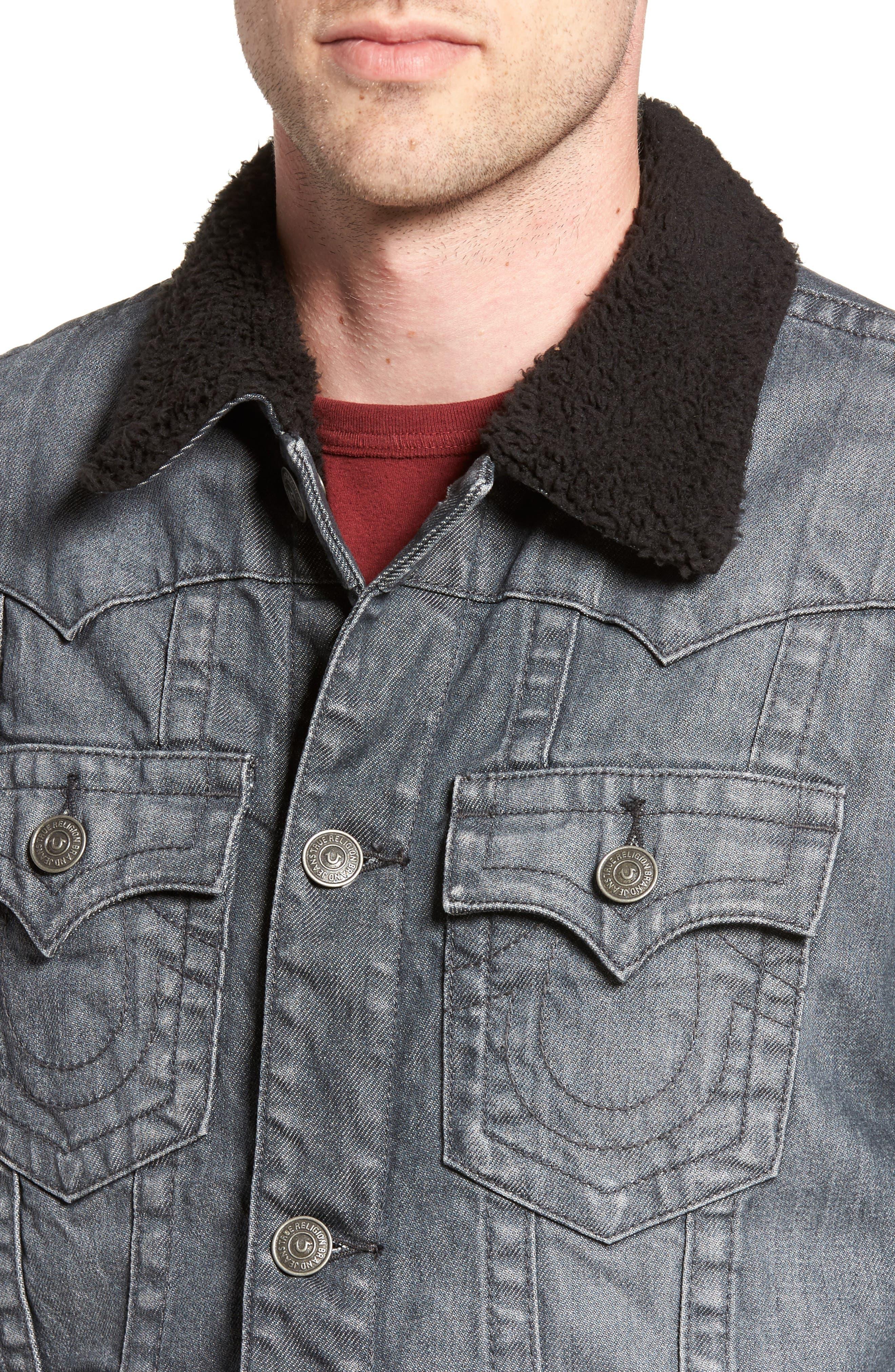 Faux Shearling Trim Denim Jacket,                             Alternate thumbnail 4, color,                             Gravel