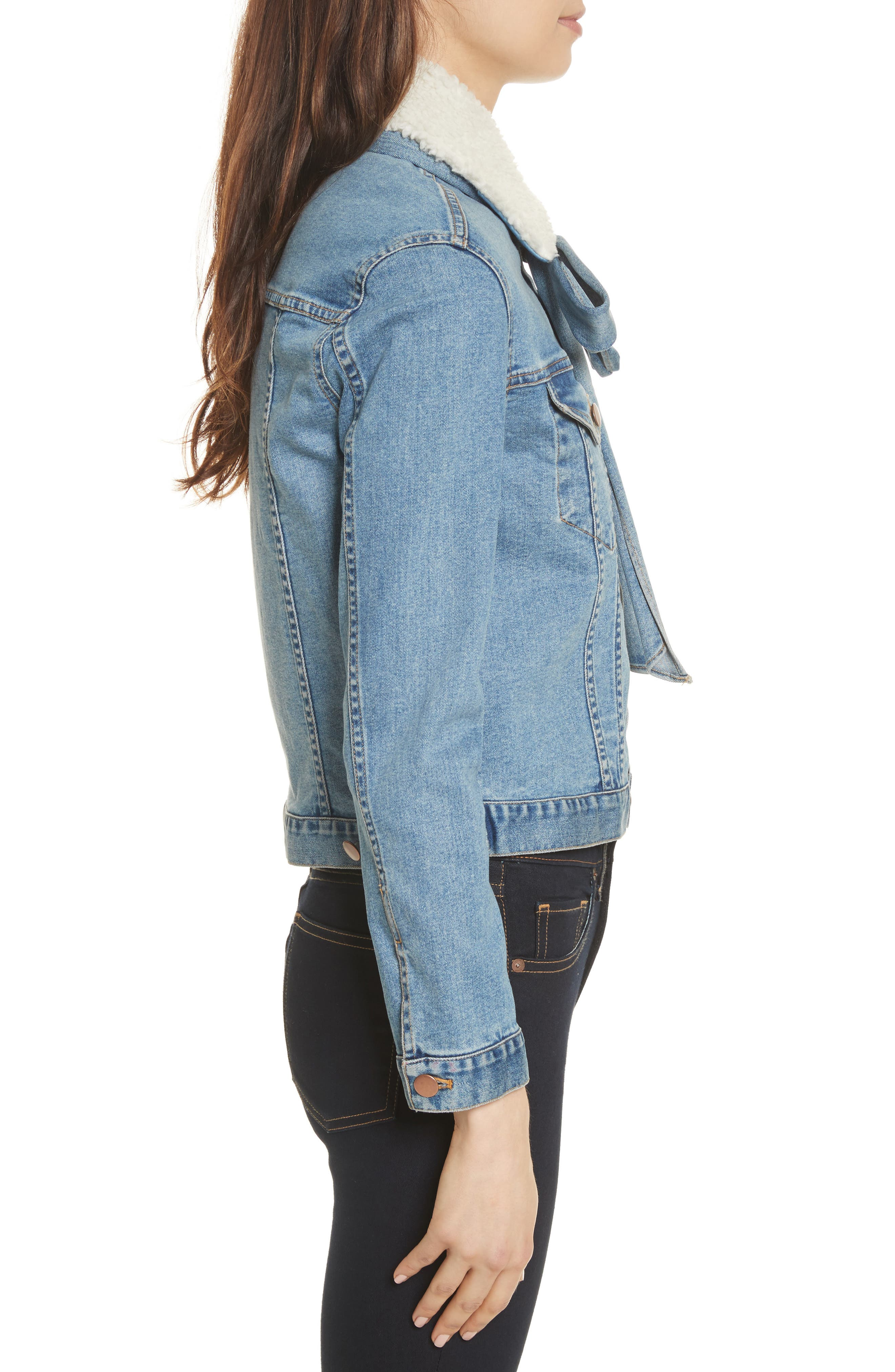 Stevie Jean Jacket with Removable Faux Shearling Collar,                             Alternate thumbnail 3, color,                             Medium Blue