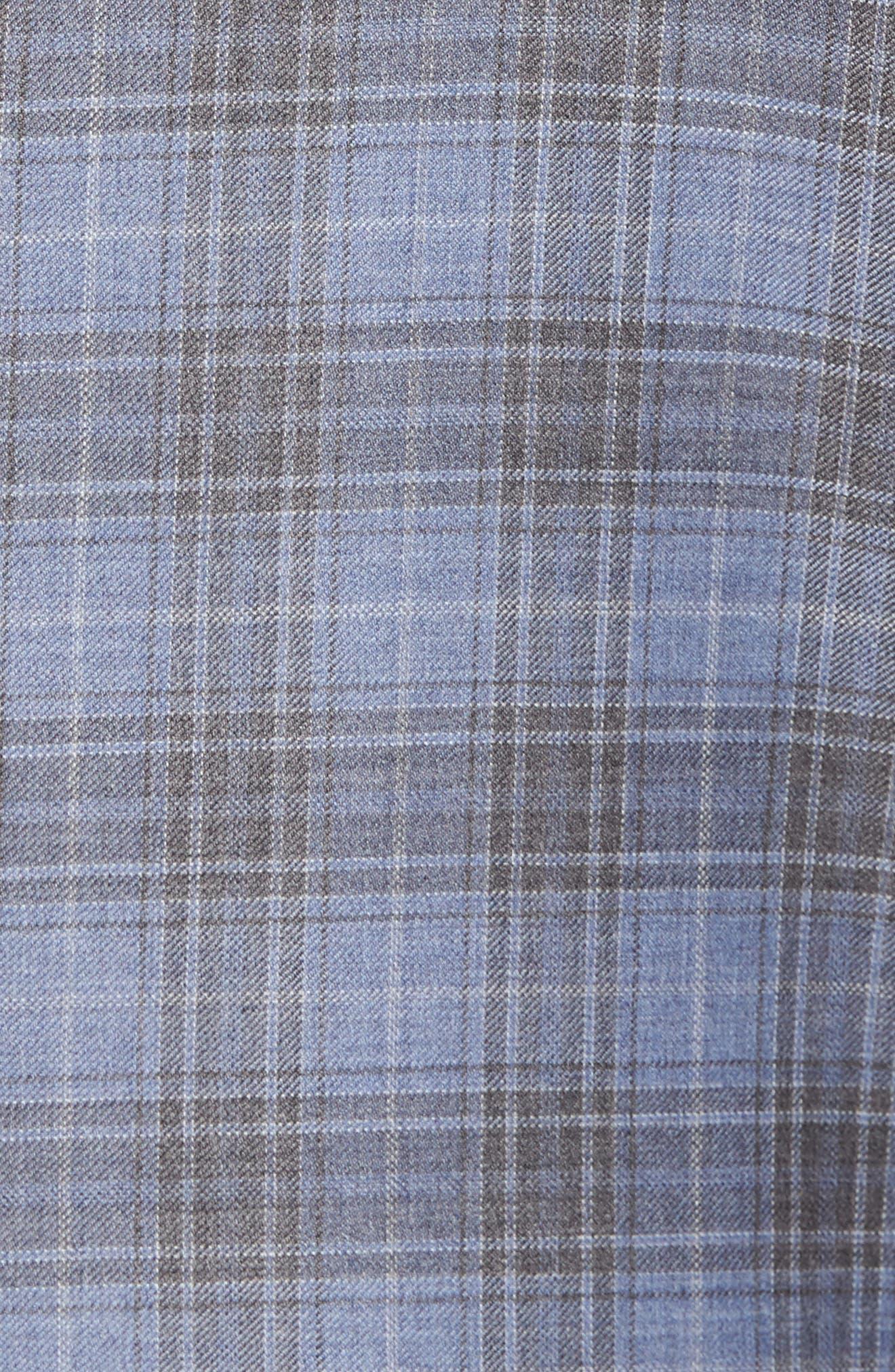 Classic Fit Plaid Wool Sport Coat,                             Alternate thumbnail 5, color,                             Light Blue