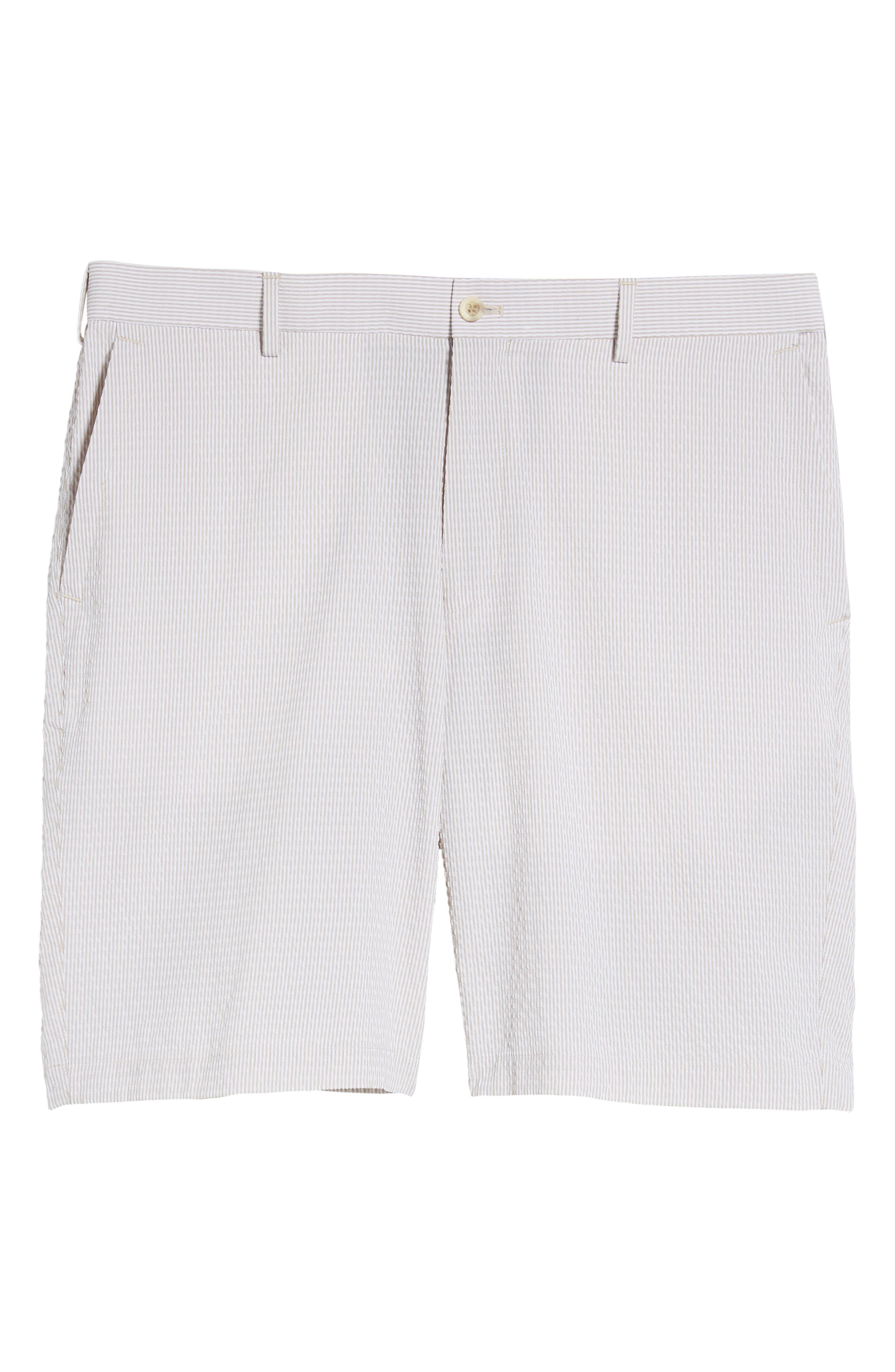 Apex Pinstripe Seersucker Shorts,                             Alternate thumbnail 6, color,                             Khaki