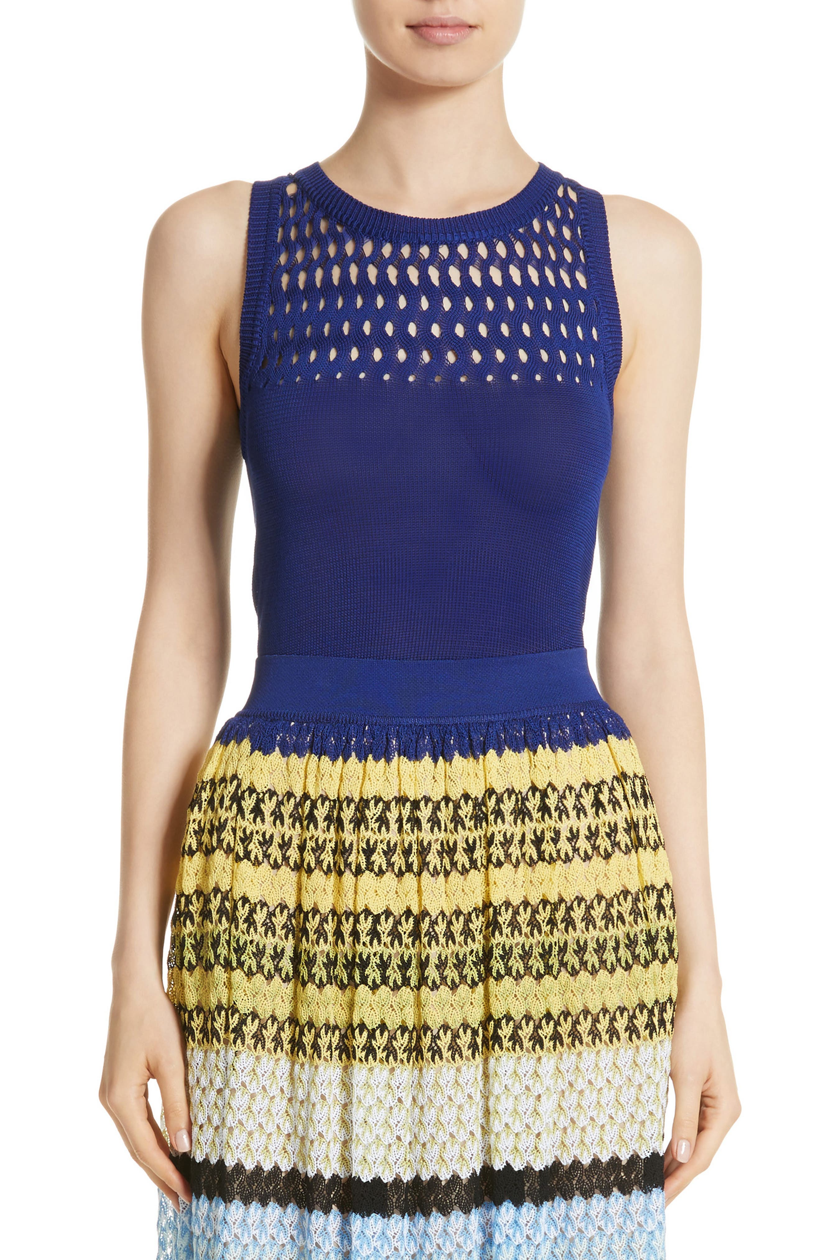 Cutout Knit Cotton Tank,                         Main,                         color, Blue