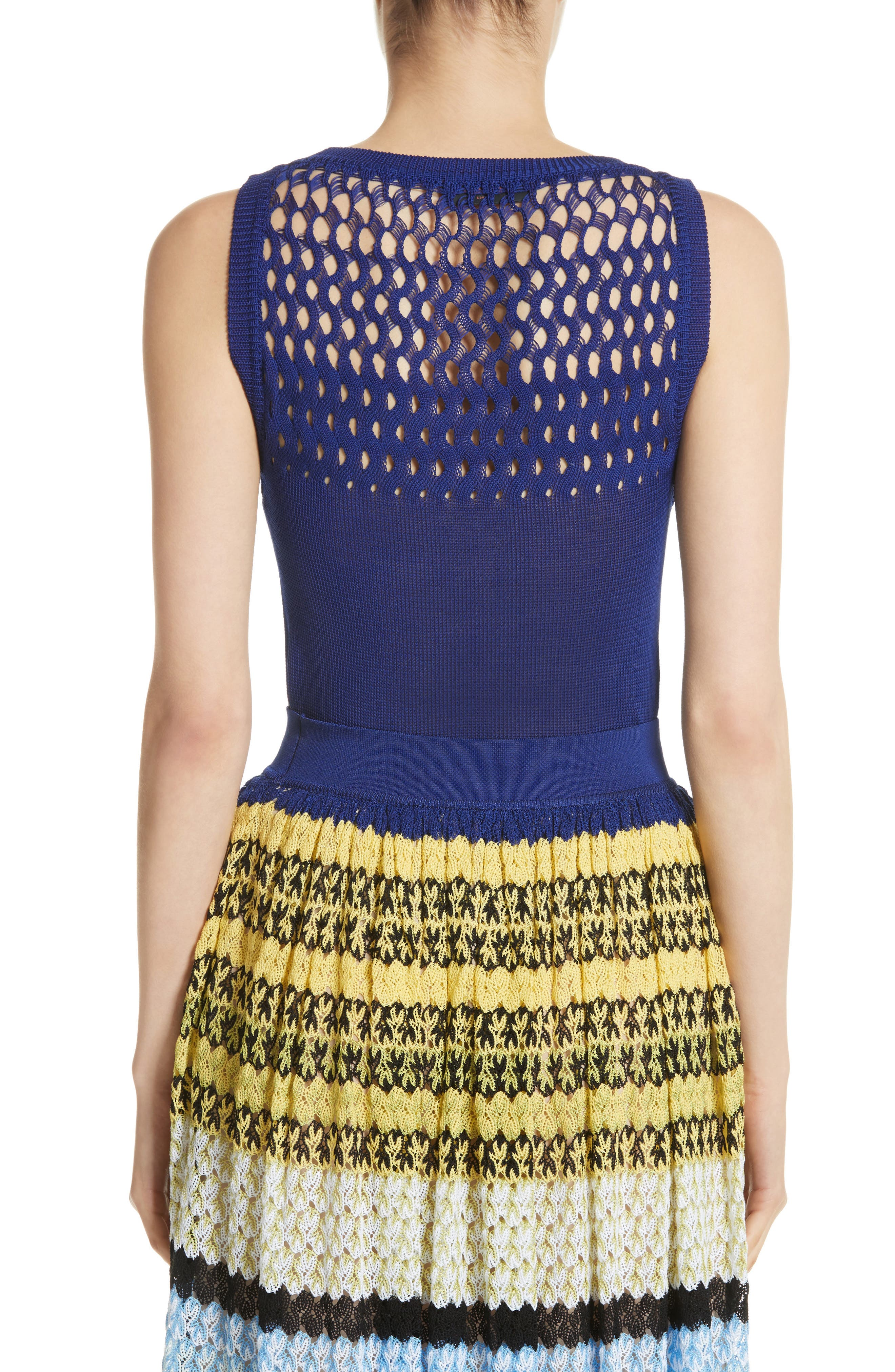 Cutout Knit Cotton Tank,                             Alternate thumbnail 2, color,                             Blue