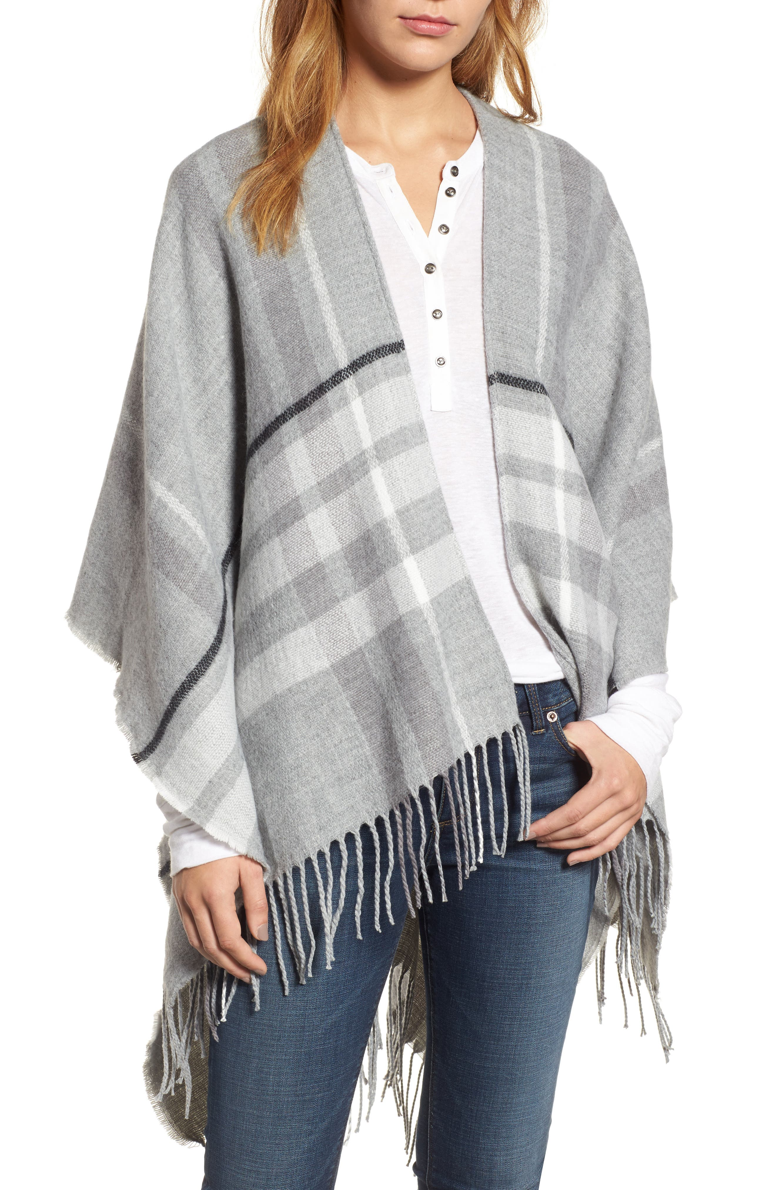 Main Image - Sole Society Plaid Fringe Wrap