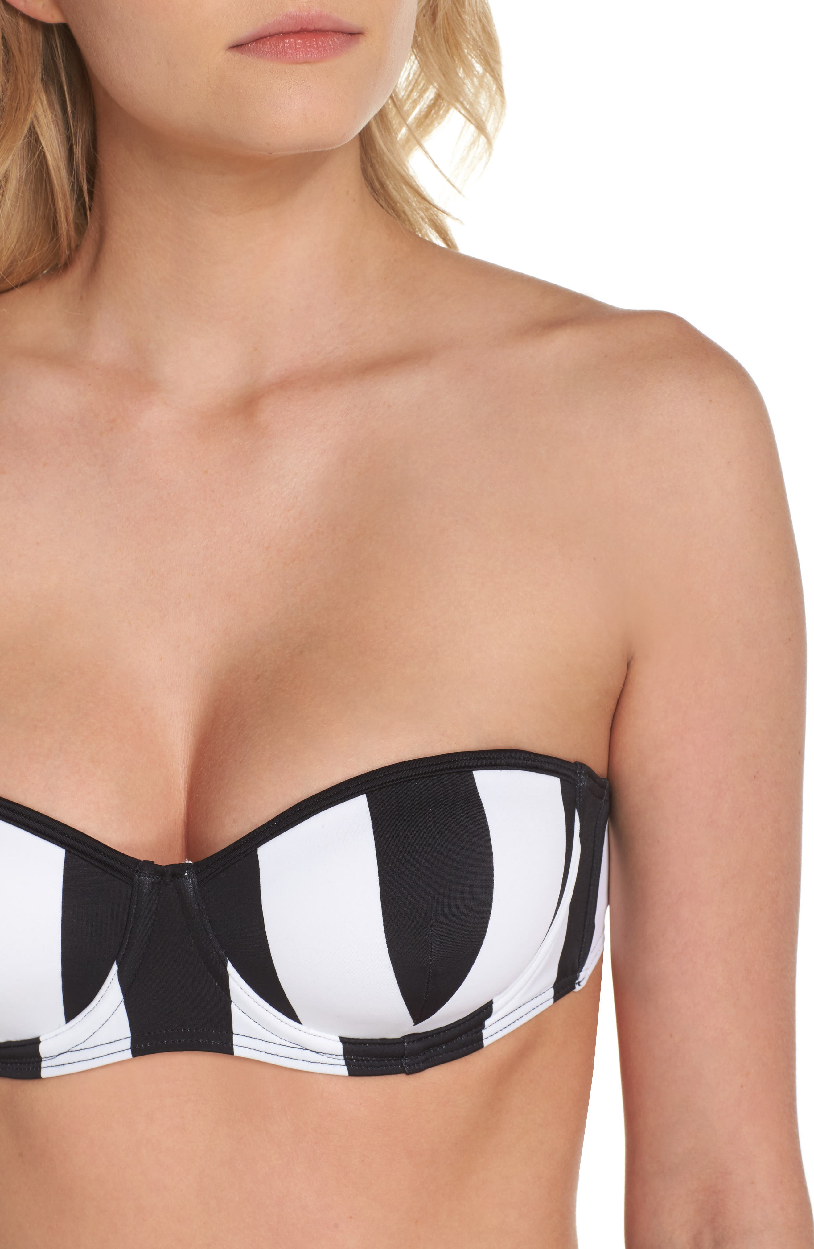 Monochrome Stripe Underwire Bikini Top,                             Alternate thumbnail 5, color,                             Black