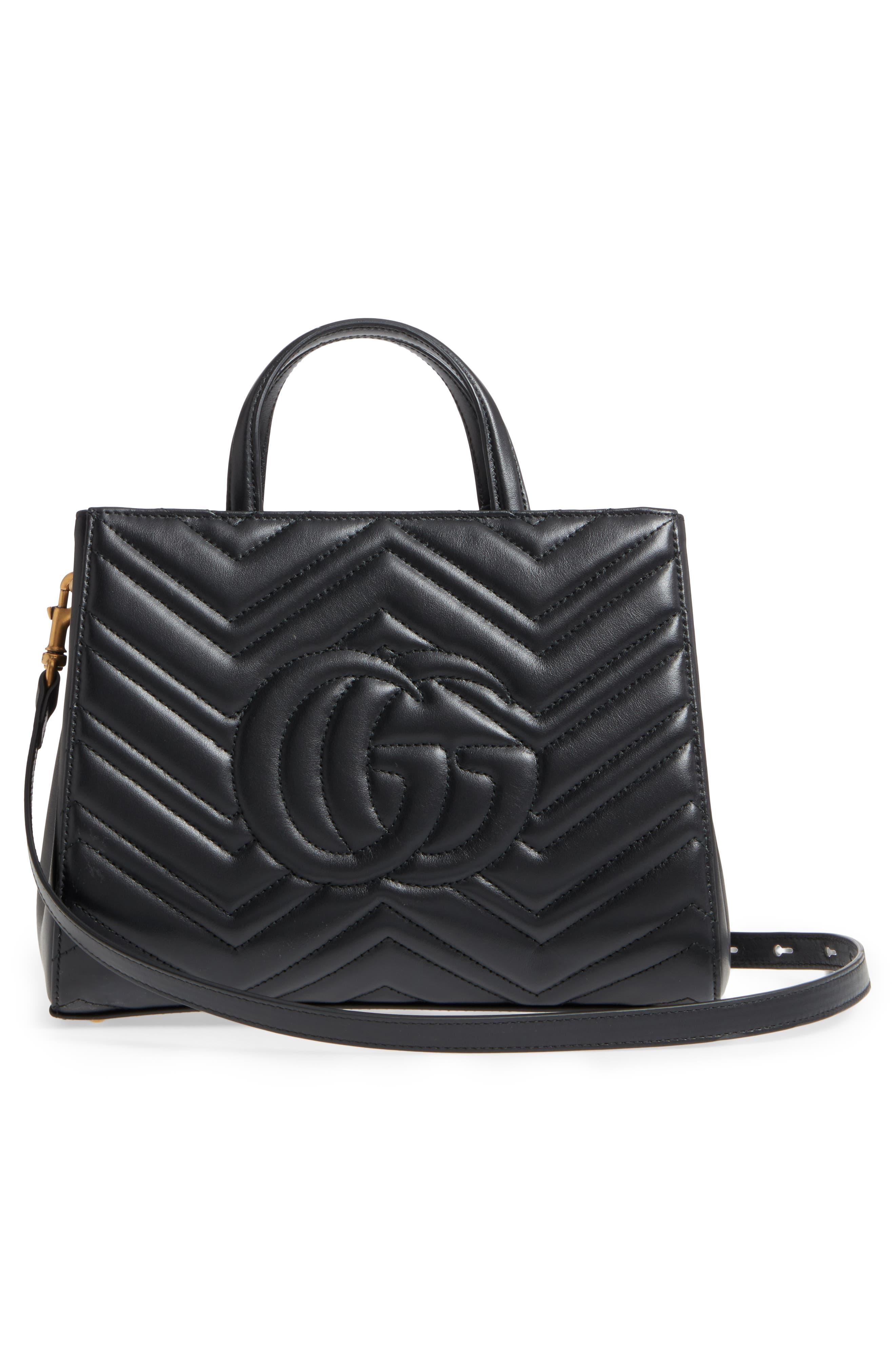GG Small Marmont 2.0 Matelassé Leather Top Handle Satchel,                             Alternate thumbnail 3, color,                             Nero/ Nero