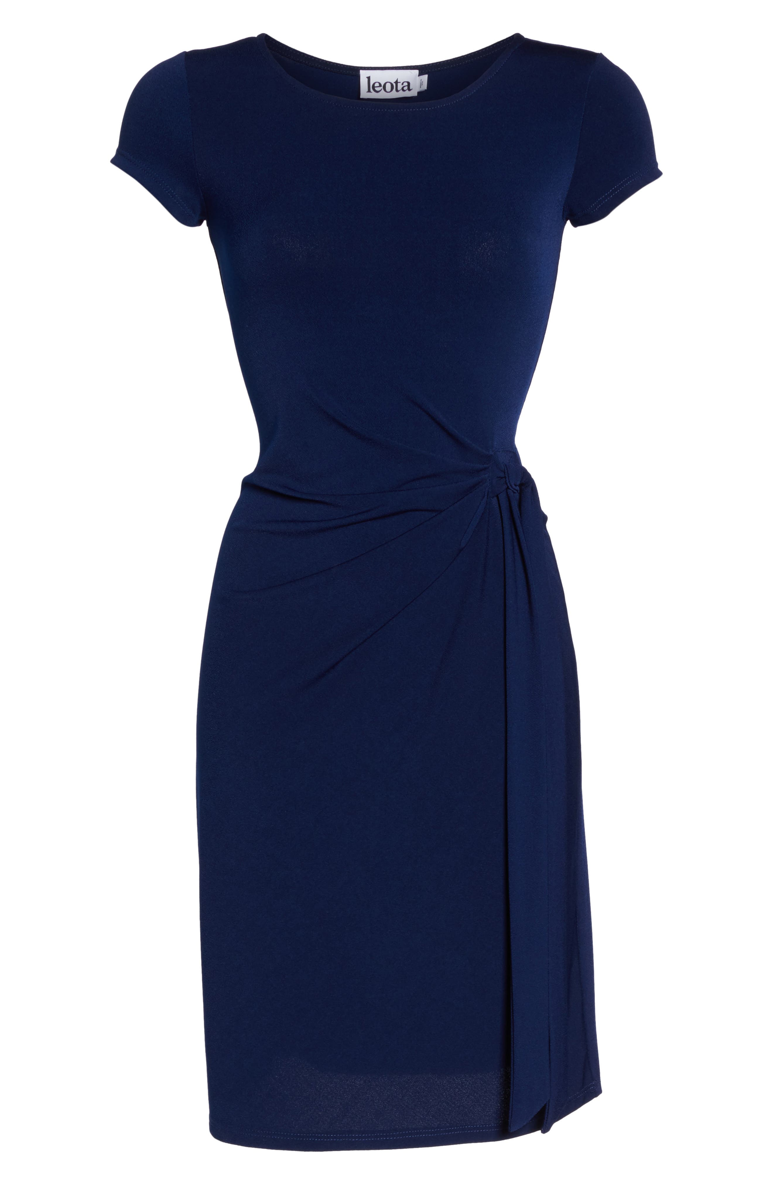 Madison Stretch Sheath Dress,                             Alternate thumbnail 6, color,                             Classic Navy