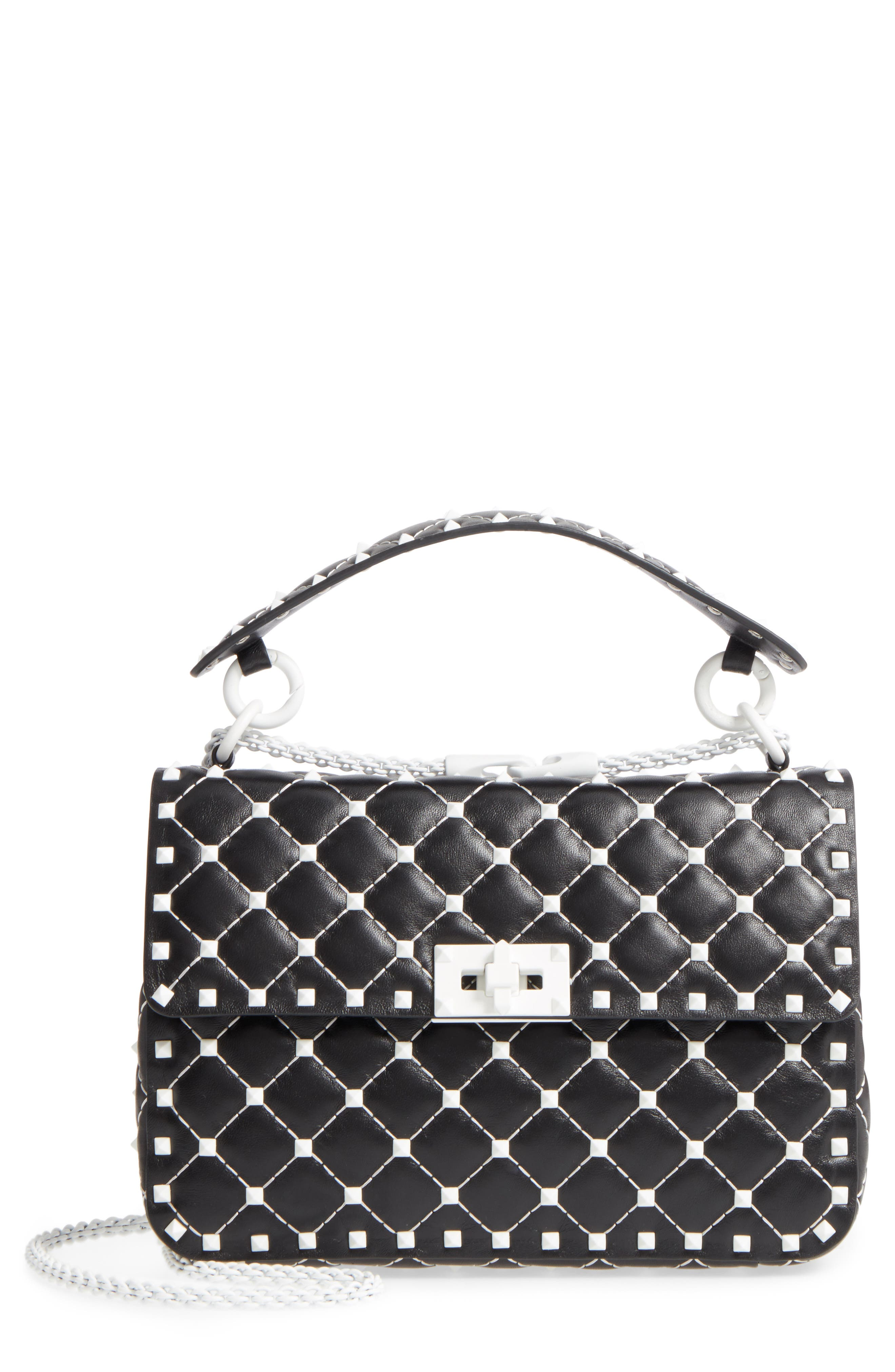 Medium Rockstud Matelassé Leather Shoulder Bag,                             Main thumbnail 1, color,                             Black