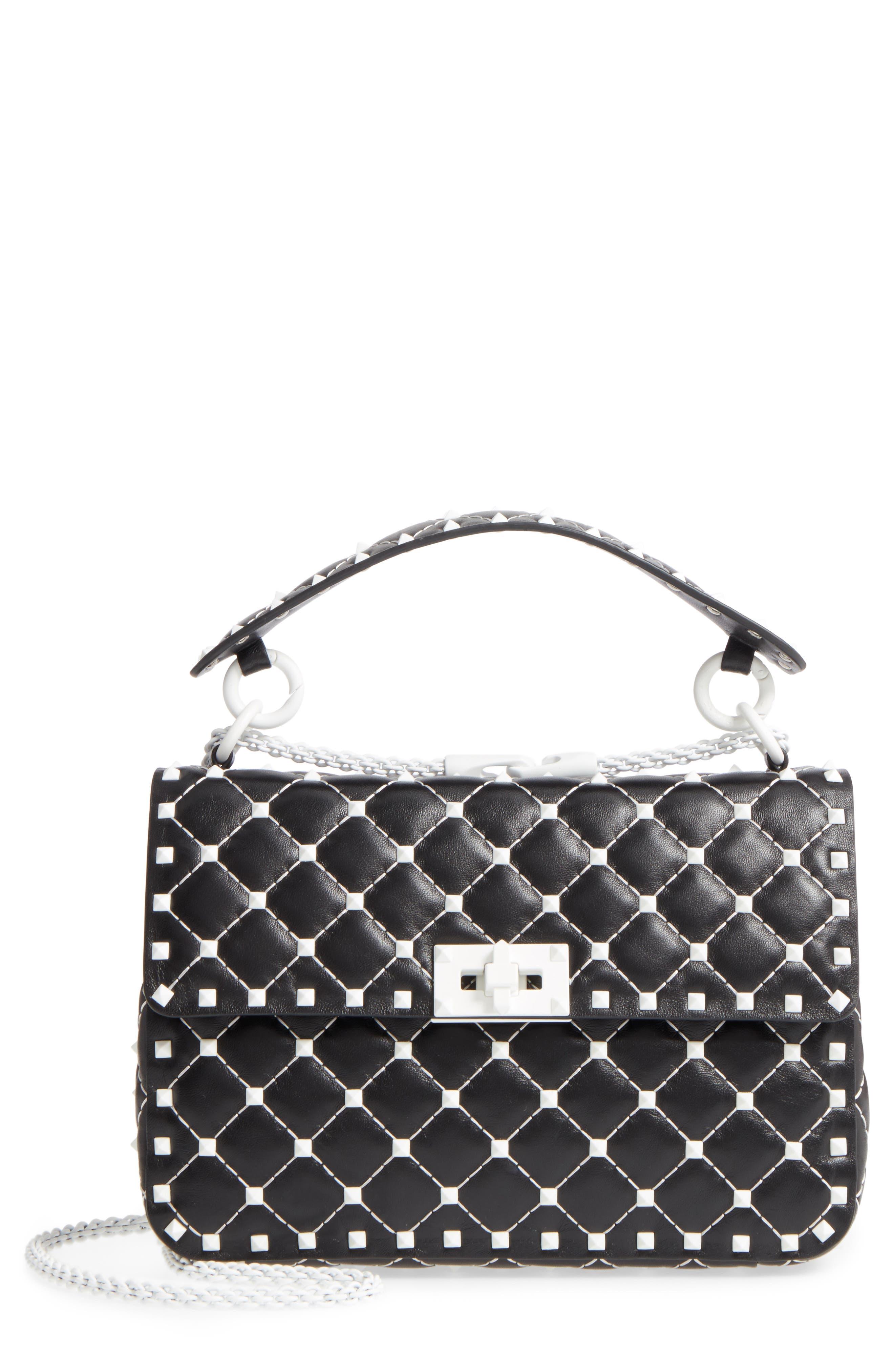 Medium Rockstud Matelassé Leather Shoulder Bag,                         Main,                         color, Black