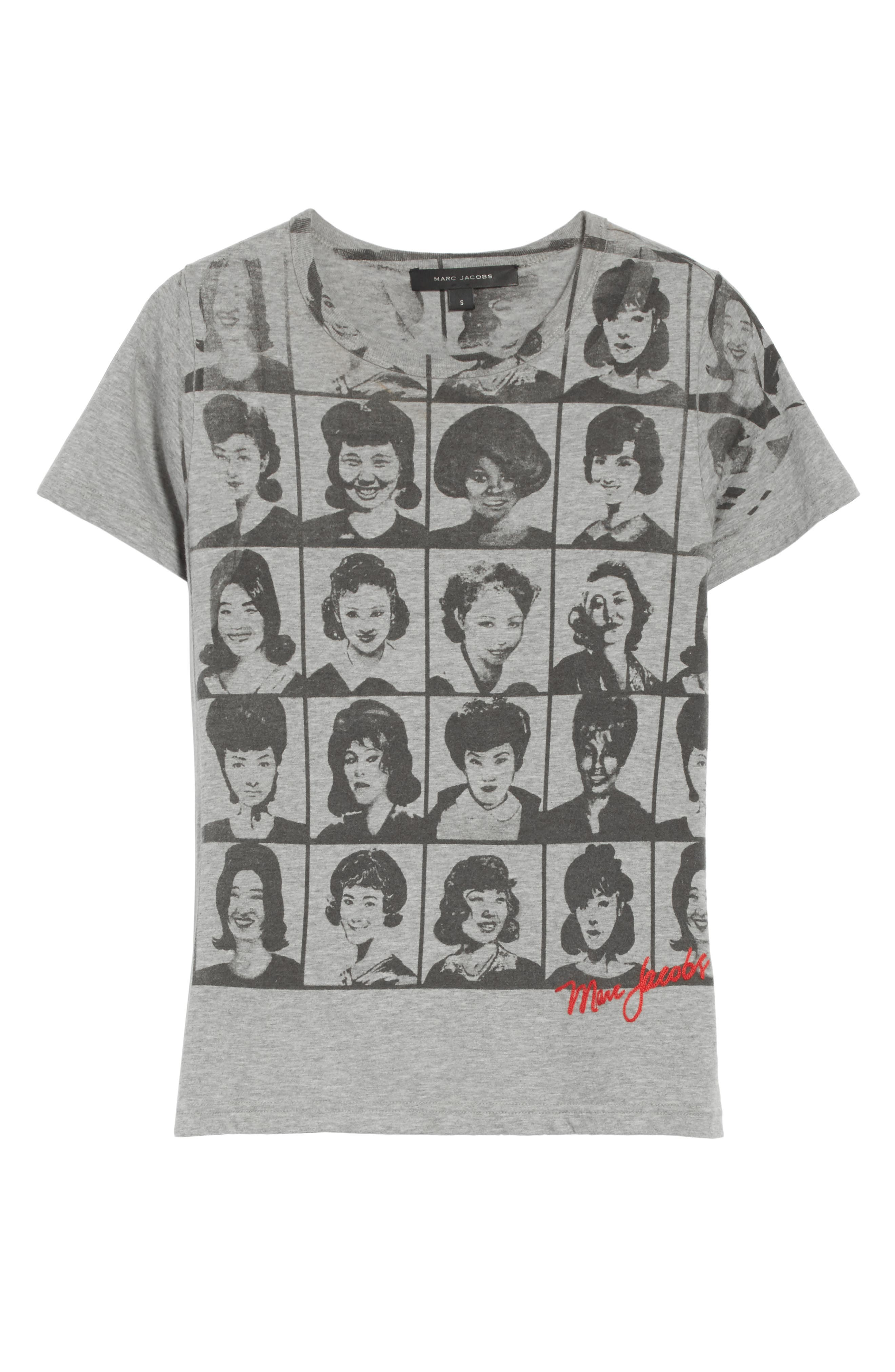 Yearbook Print Embroidered Tee,                             Alternate thumbnail 6, color,                             Grey Melange