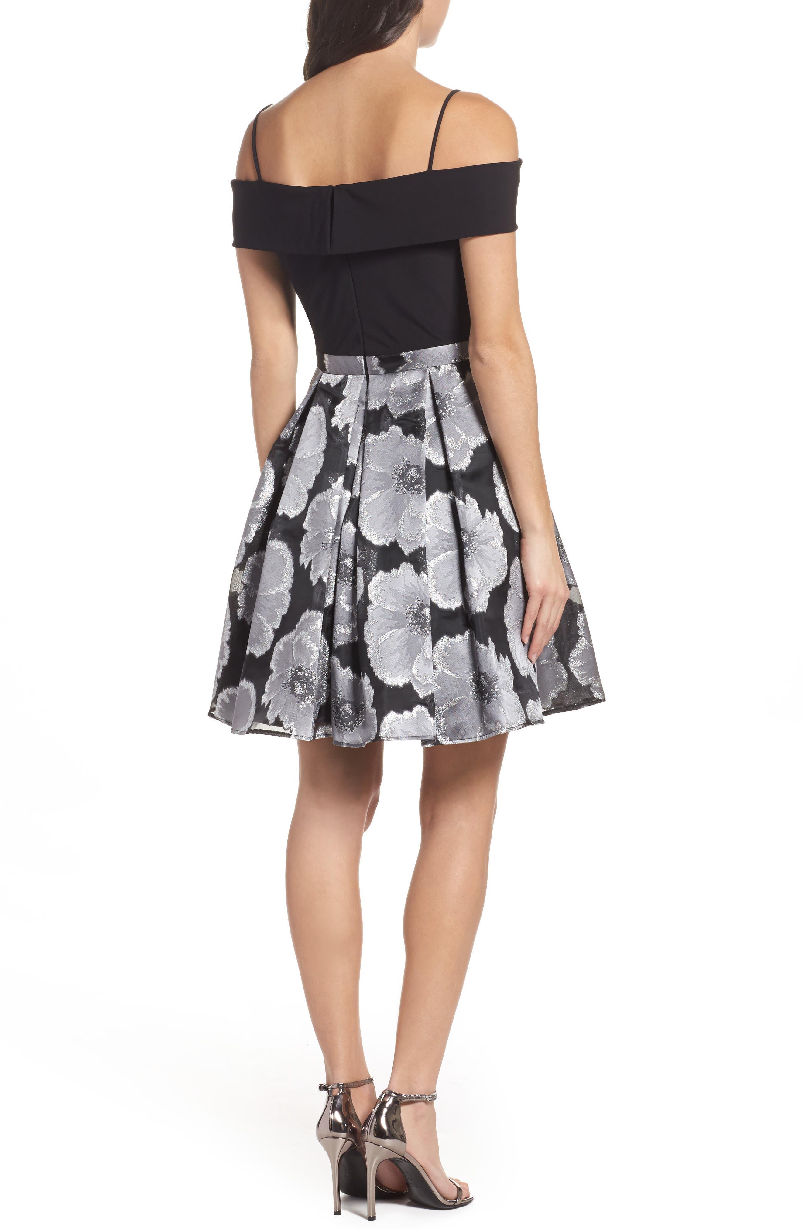Mixed Media Off the Shoulder Dress,                             Alternate thumbnail 2, color,                             Black/ Silver