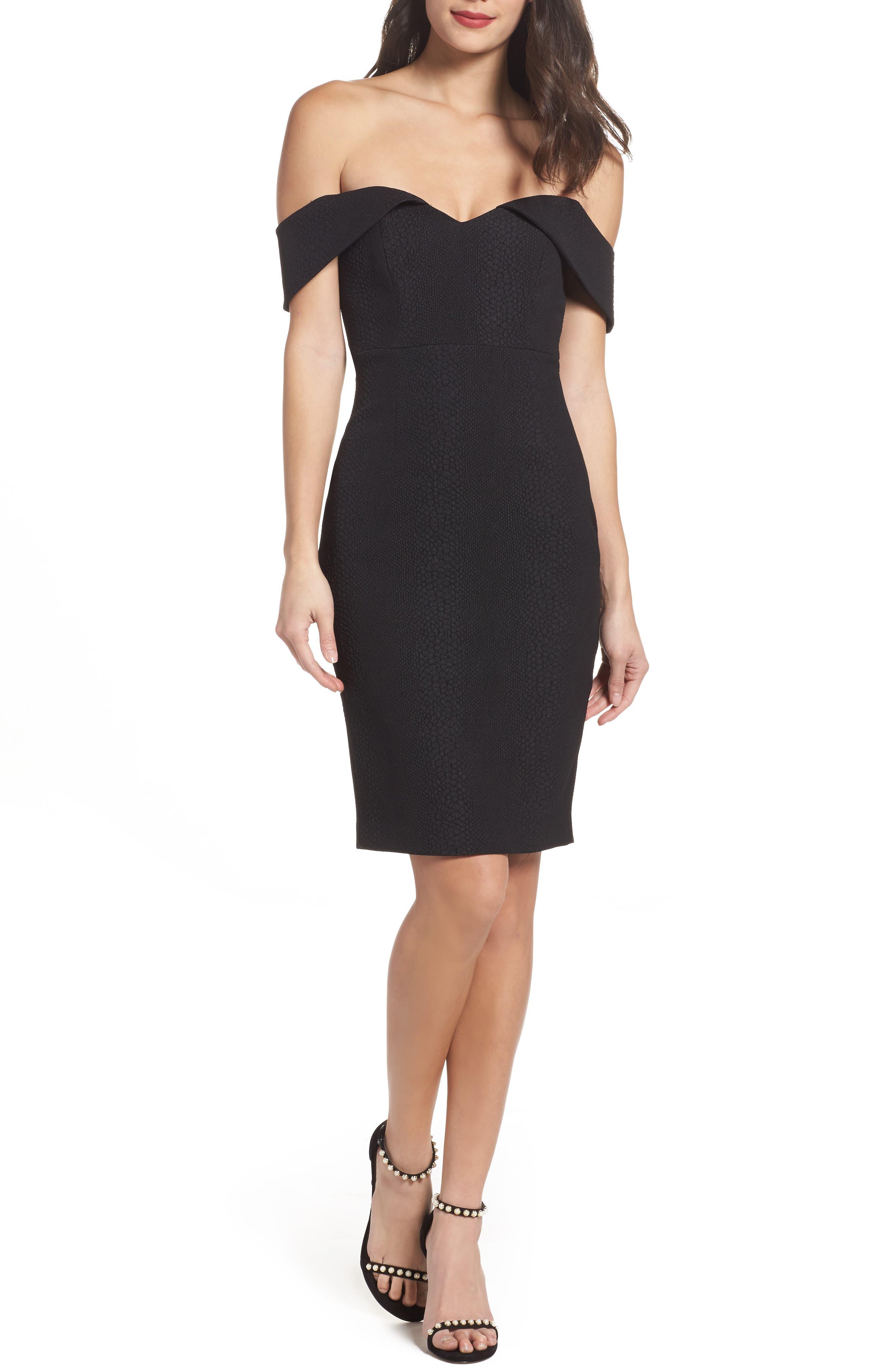 Eva Off the Shoulder Body-Con Dress,                         Main,                         color, Black