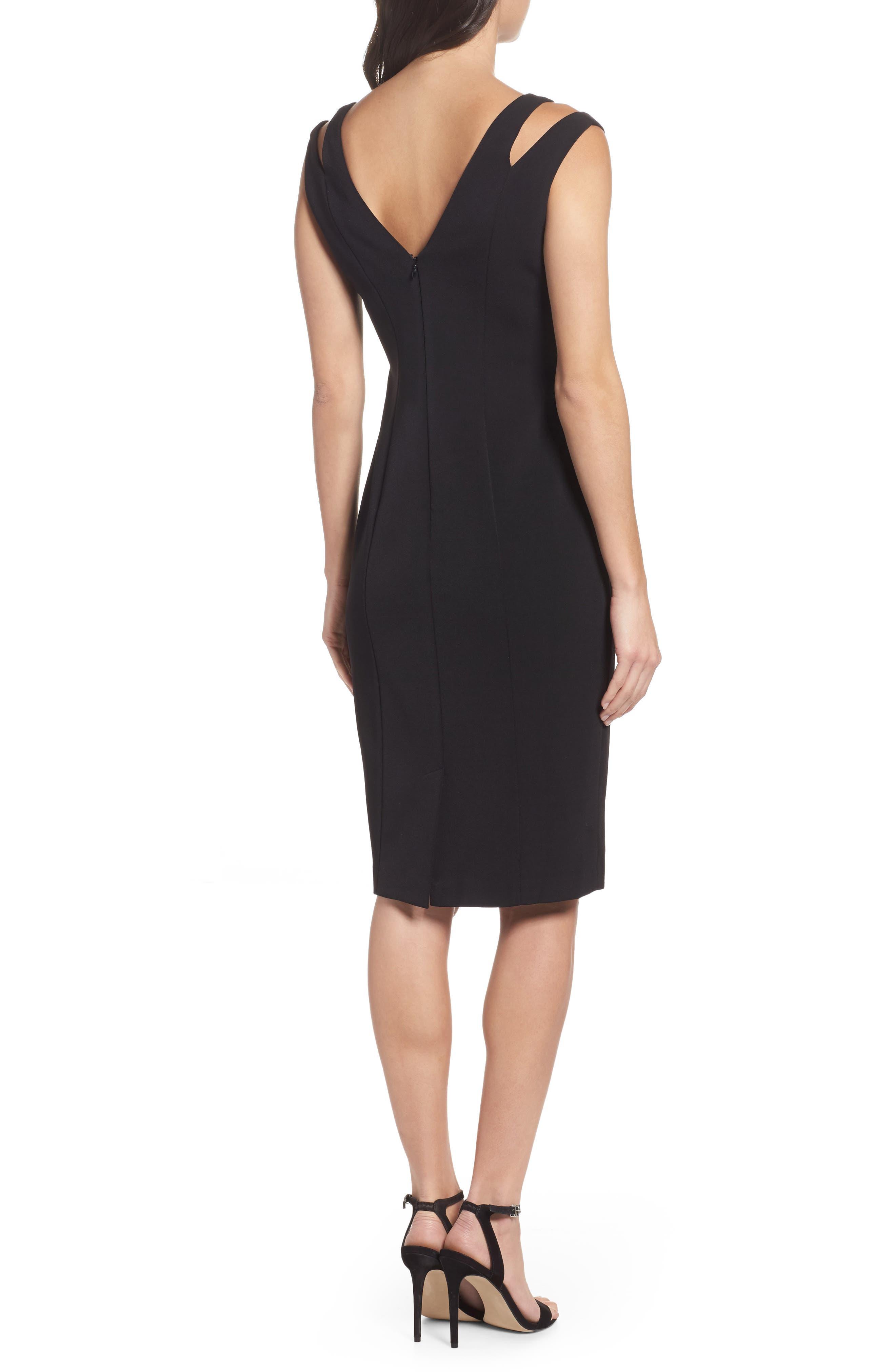 Cutout Shoulder Crepe Sheath Dress,                             Alternate thumbnail 2, color,                             Black
