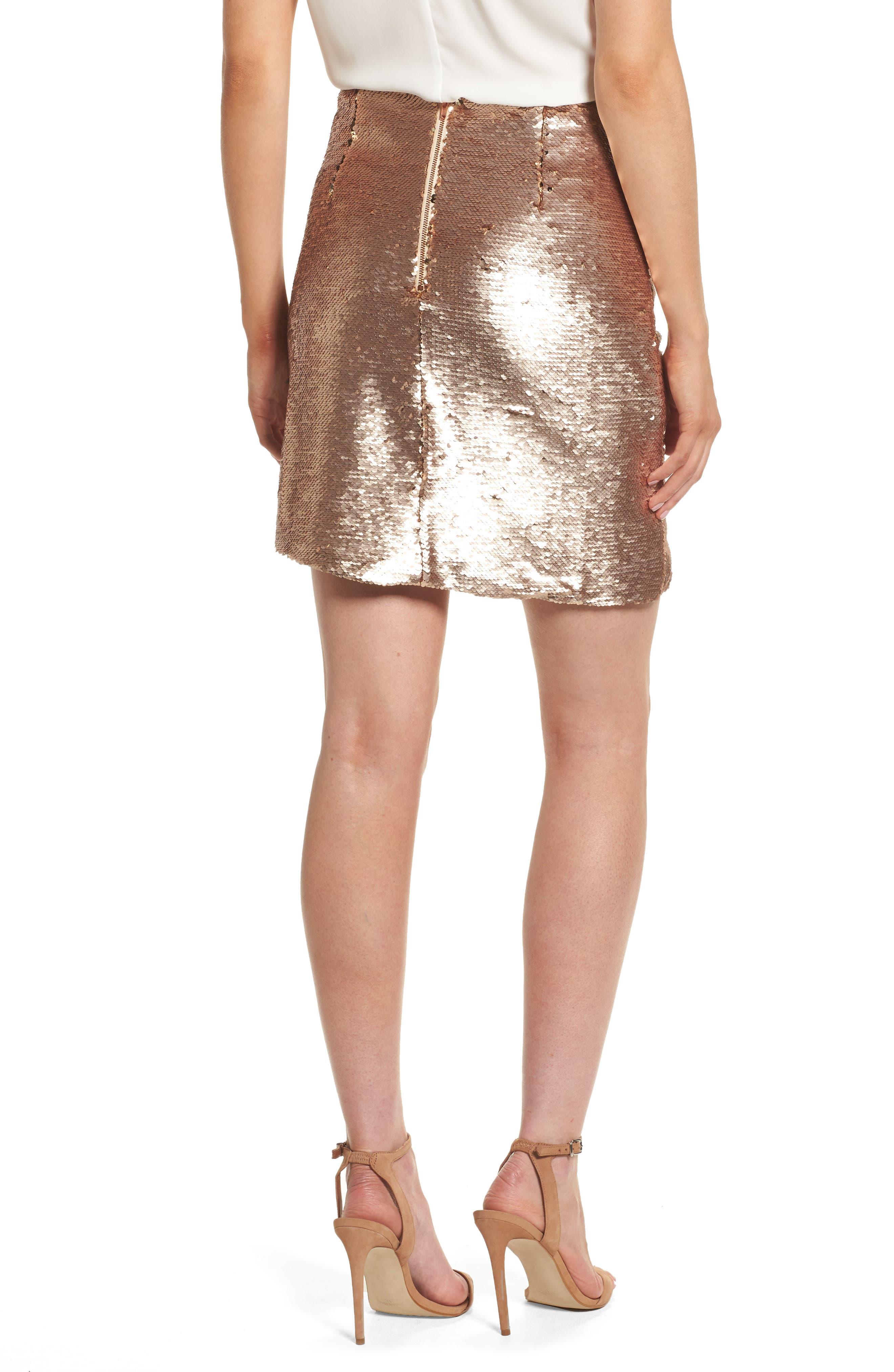 Tresor Sequin Miniskirt,                             Alternate thumbnail 2, color,                             Champagne Blush
