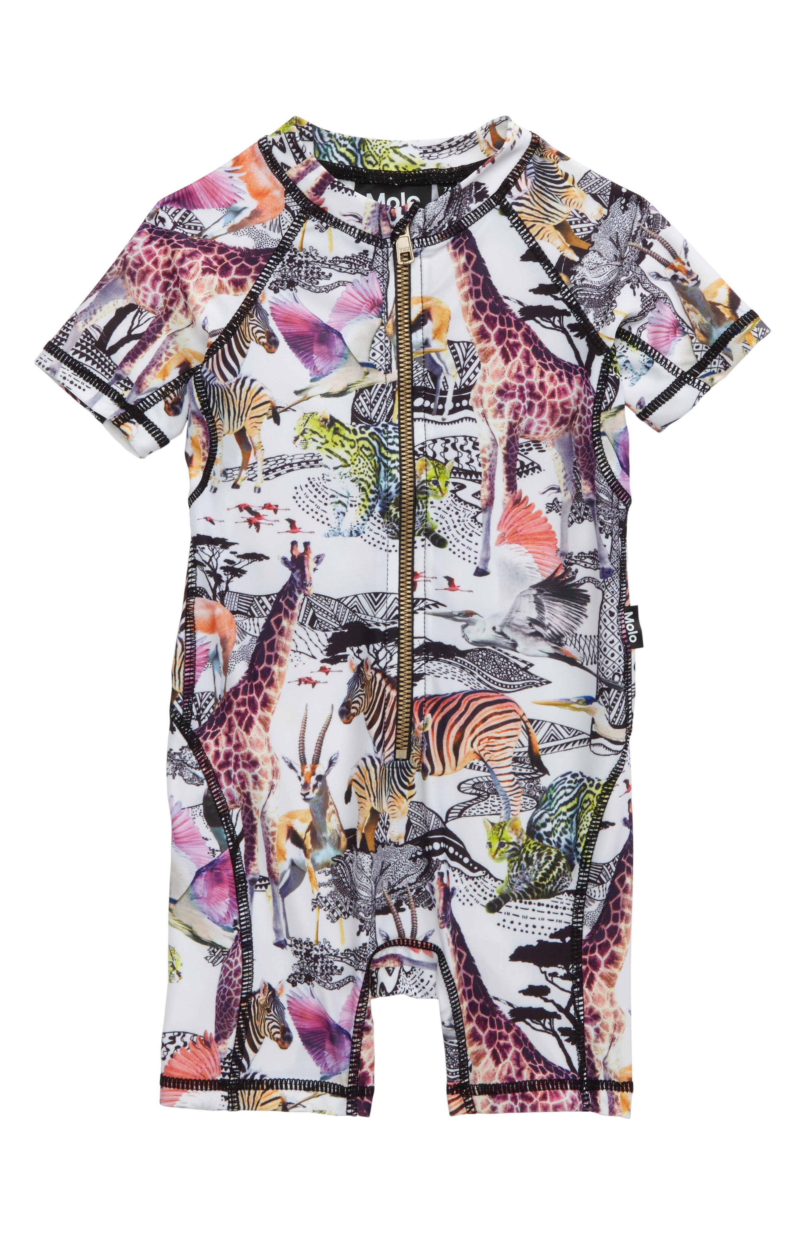 Alternate Image 1 Selected - Molo Neka One-Piece Rashguard Swimsuit (Baby Girls)