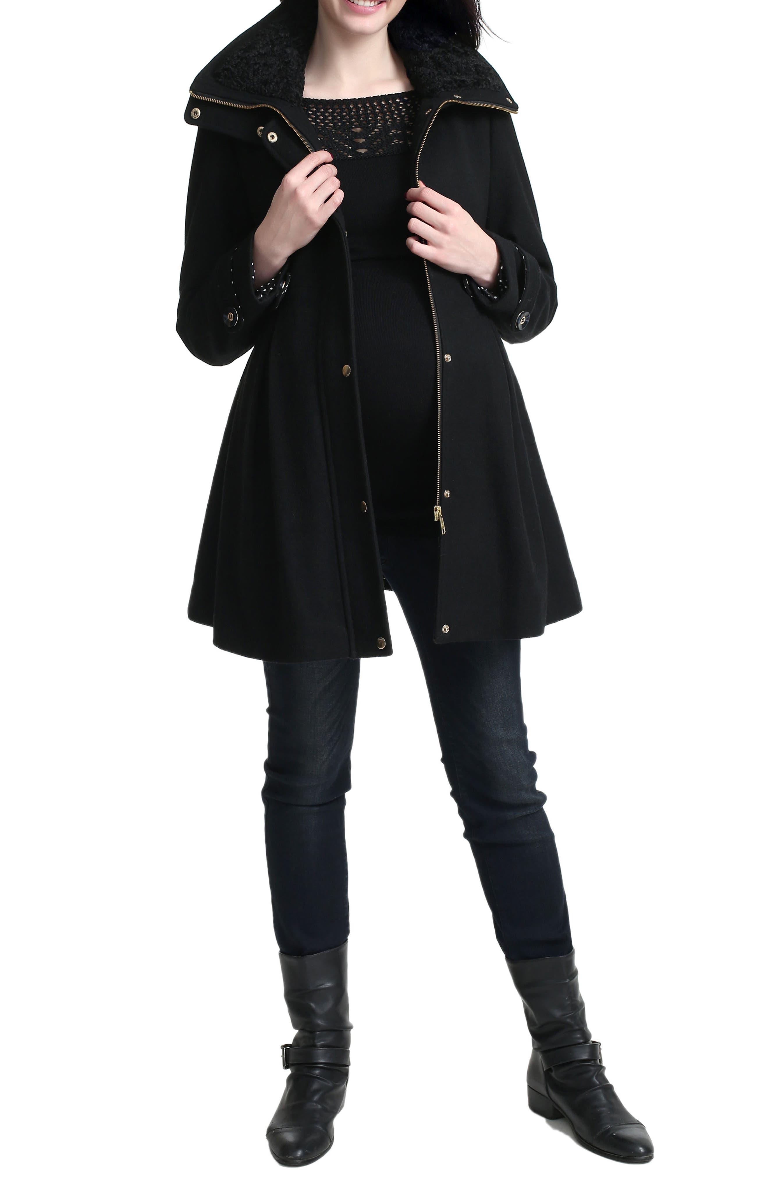Olivia Wool Blend Maternity Coat,                             Alternate thumbnail 4, color,                             Black