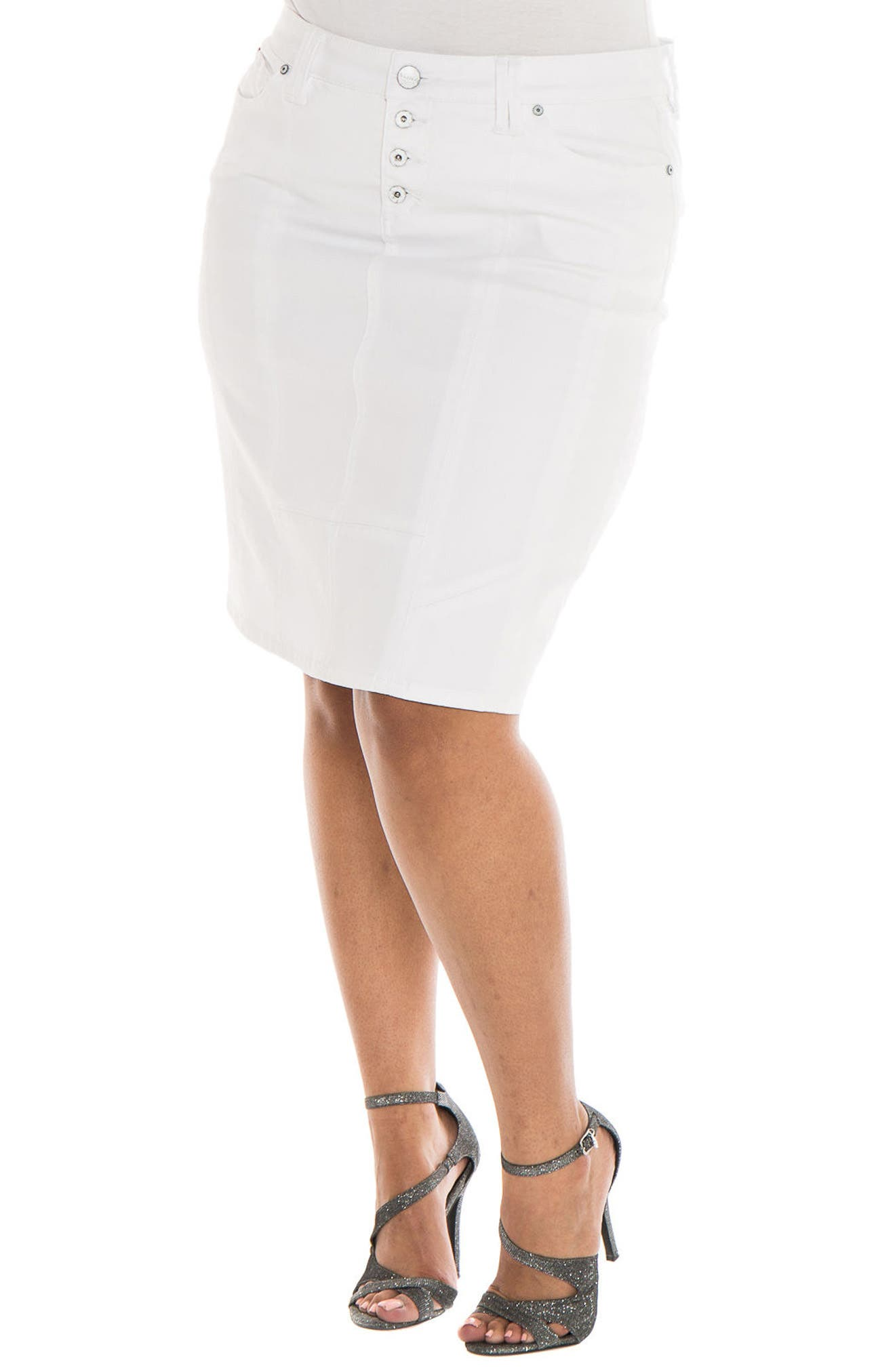 Main Image - SLINK Jeans Seam Skirt (Charlie) (Plus Size)