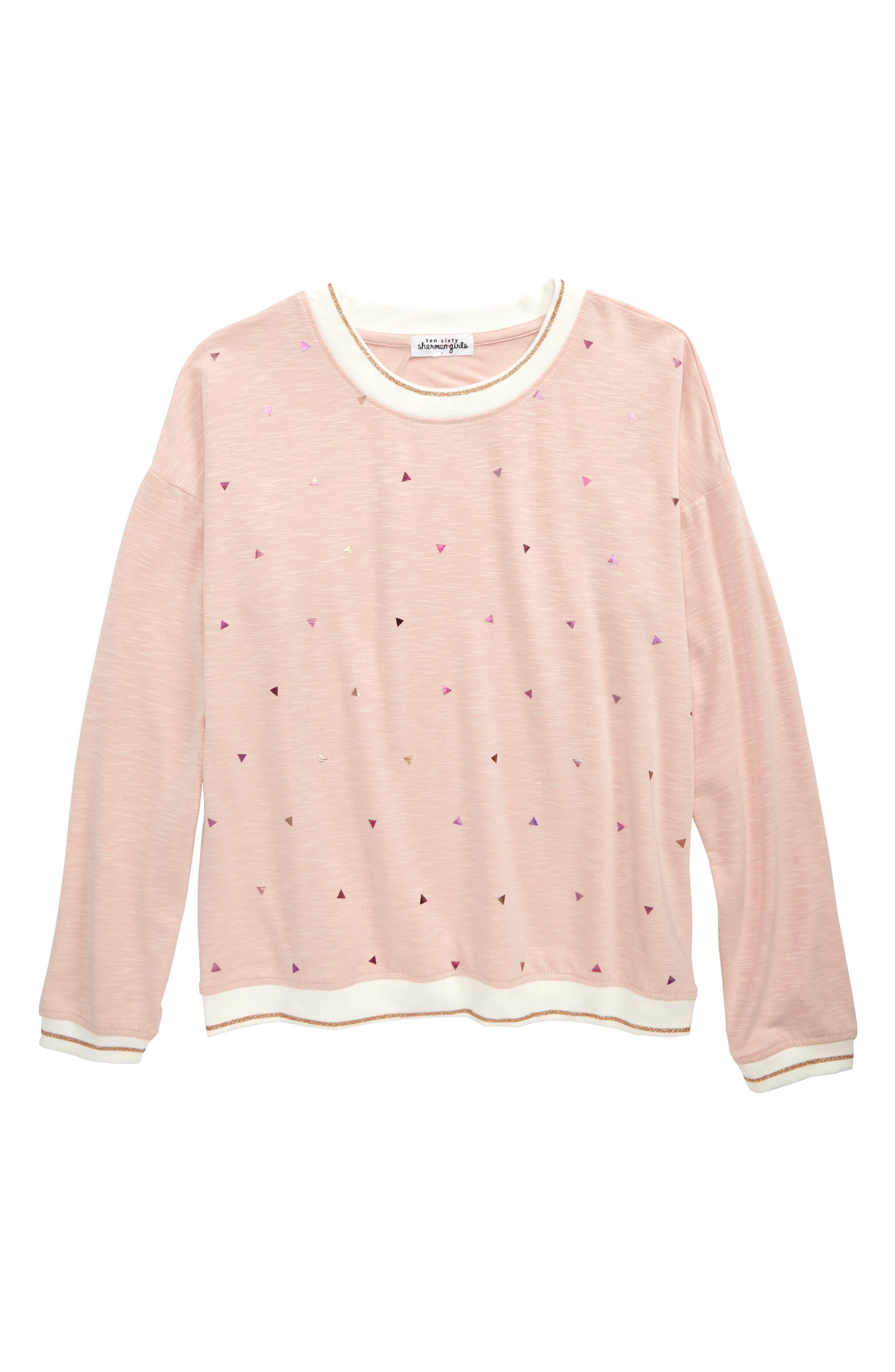 Foil Triangle Sweatshirt,                             Main thumbnail 1, color,                             Blush