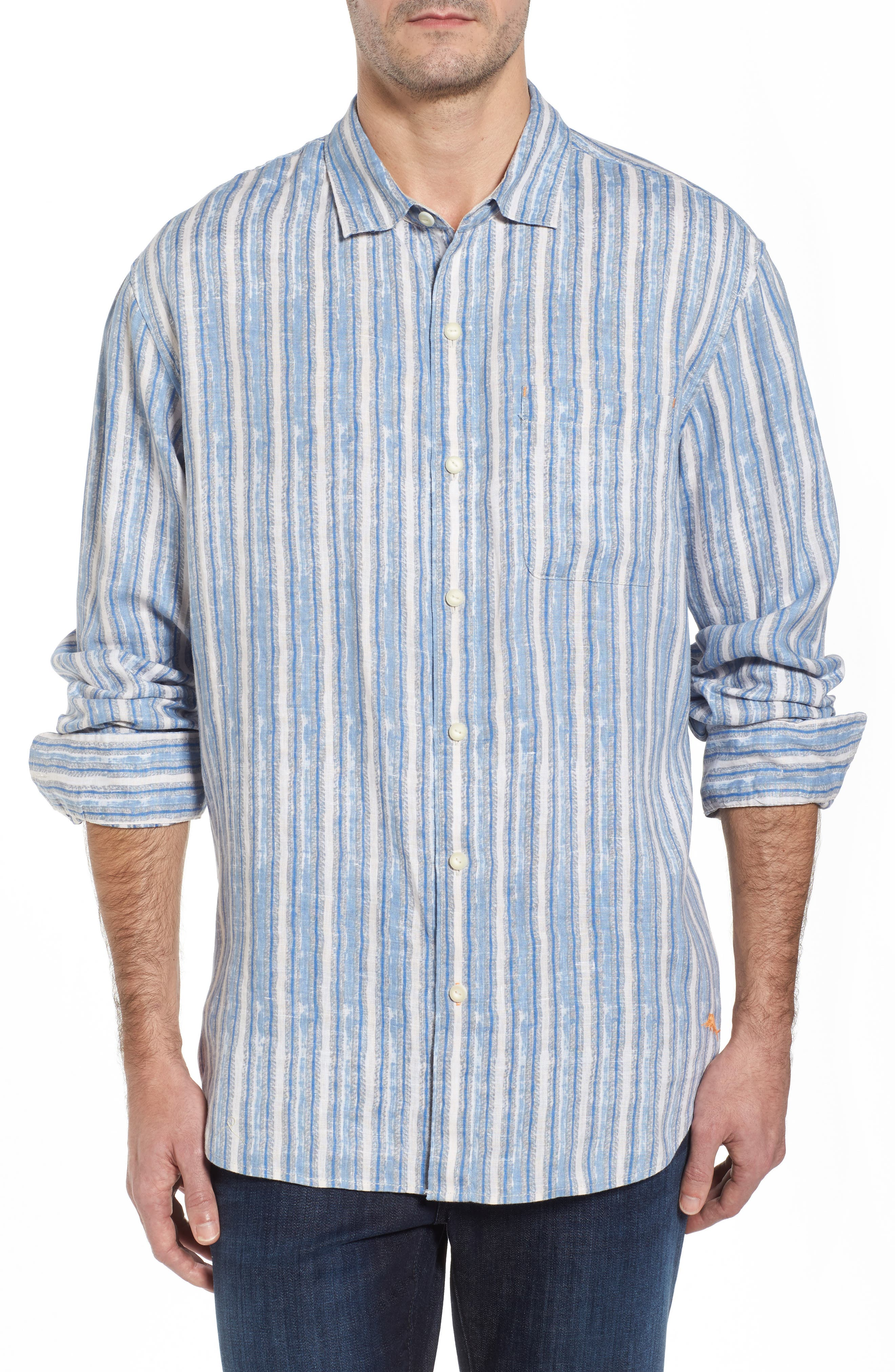 Along Shore Stripe Linen Sport Shirt,                             Main thumbnail 1, color,                             Fjord