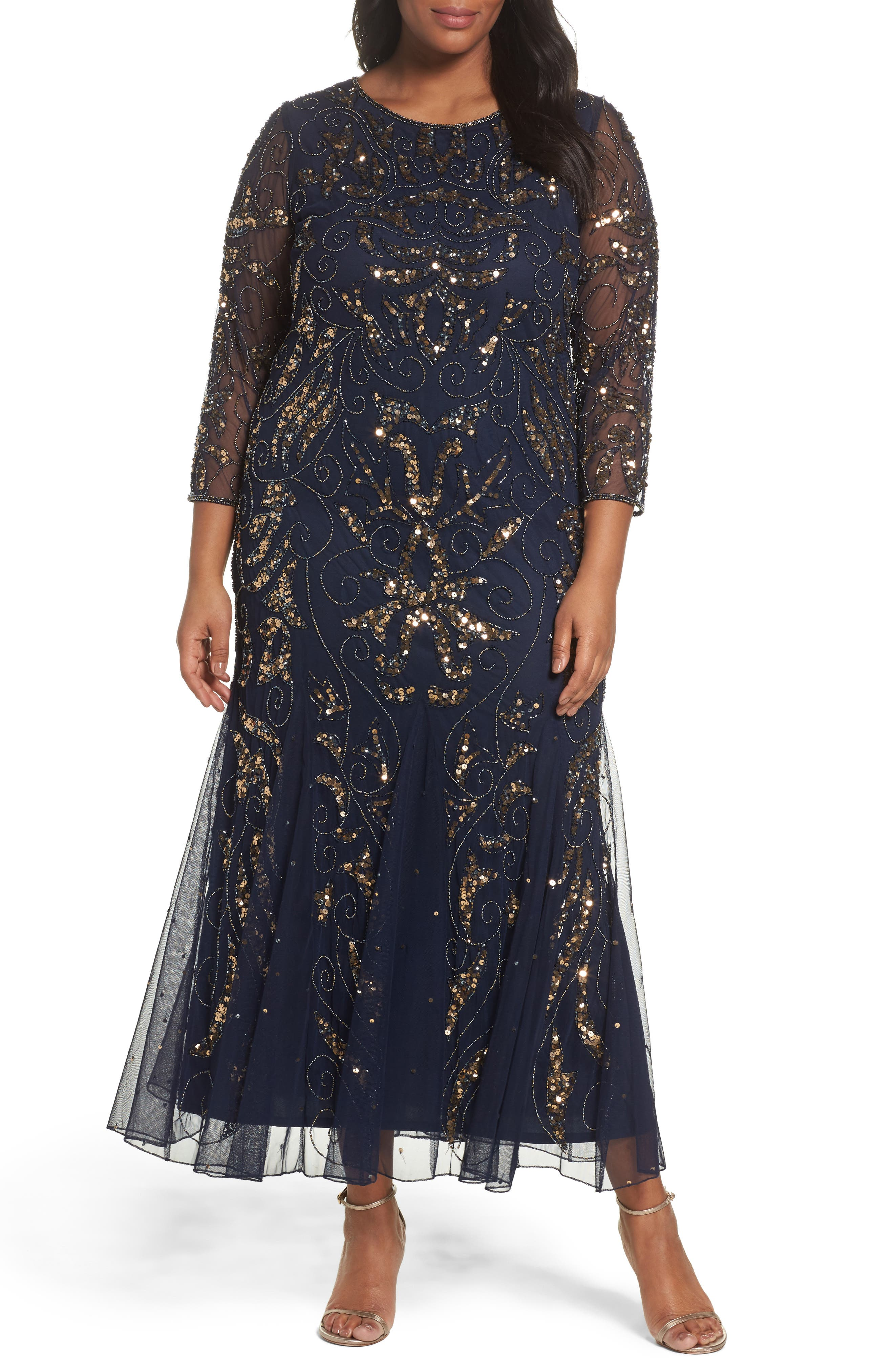 Embellished Three Quarter Sleeve Gown,                         Main,                         color, Navy/ Gold