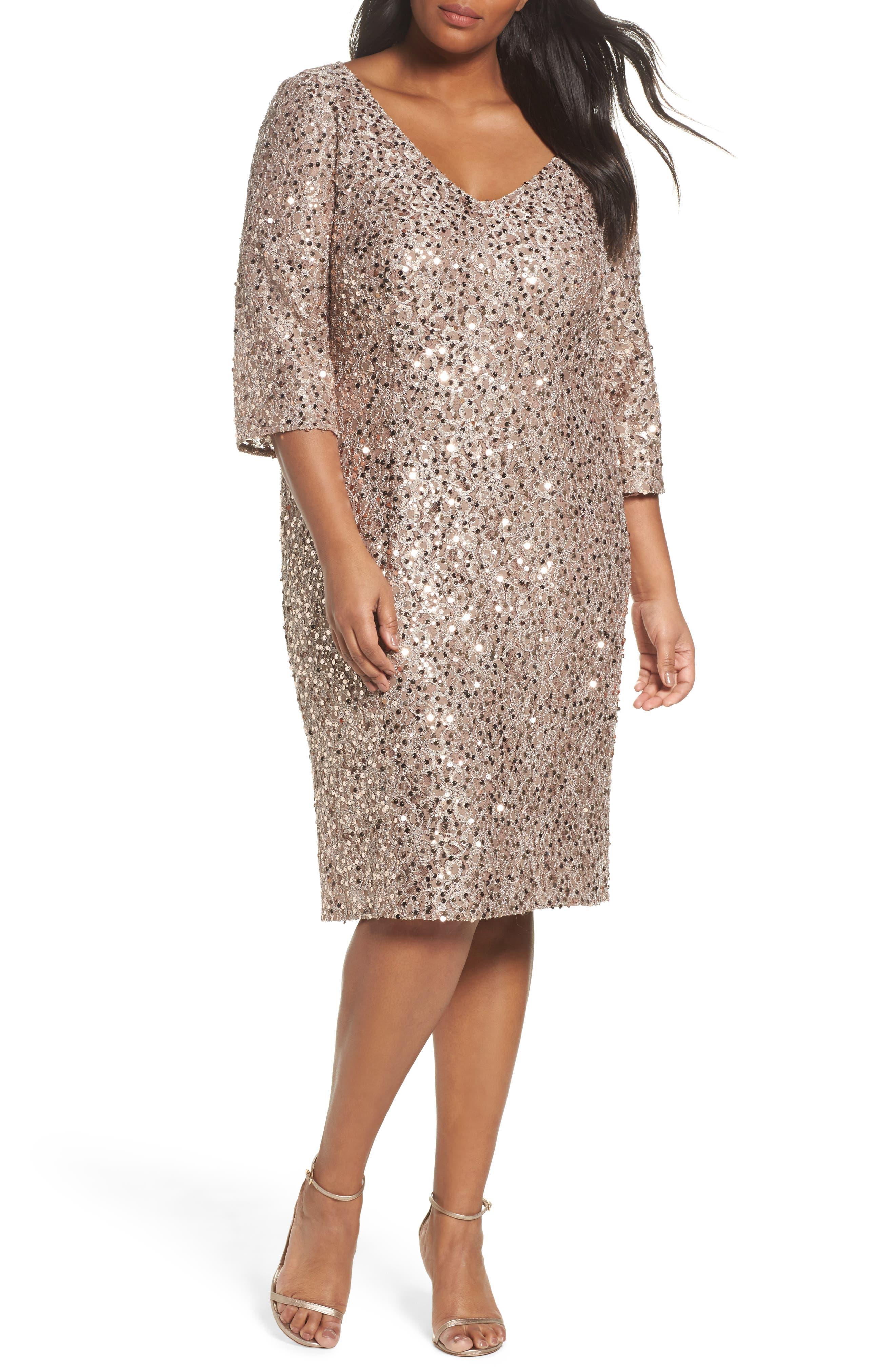 Main Image - Alex Evenings Sequin Shift Dress (Plus Size)