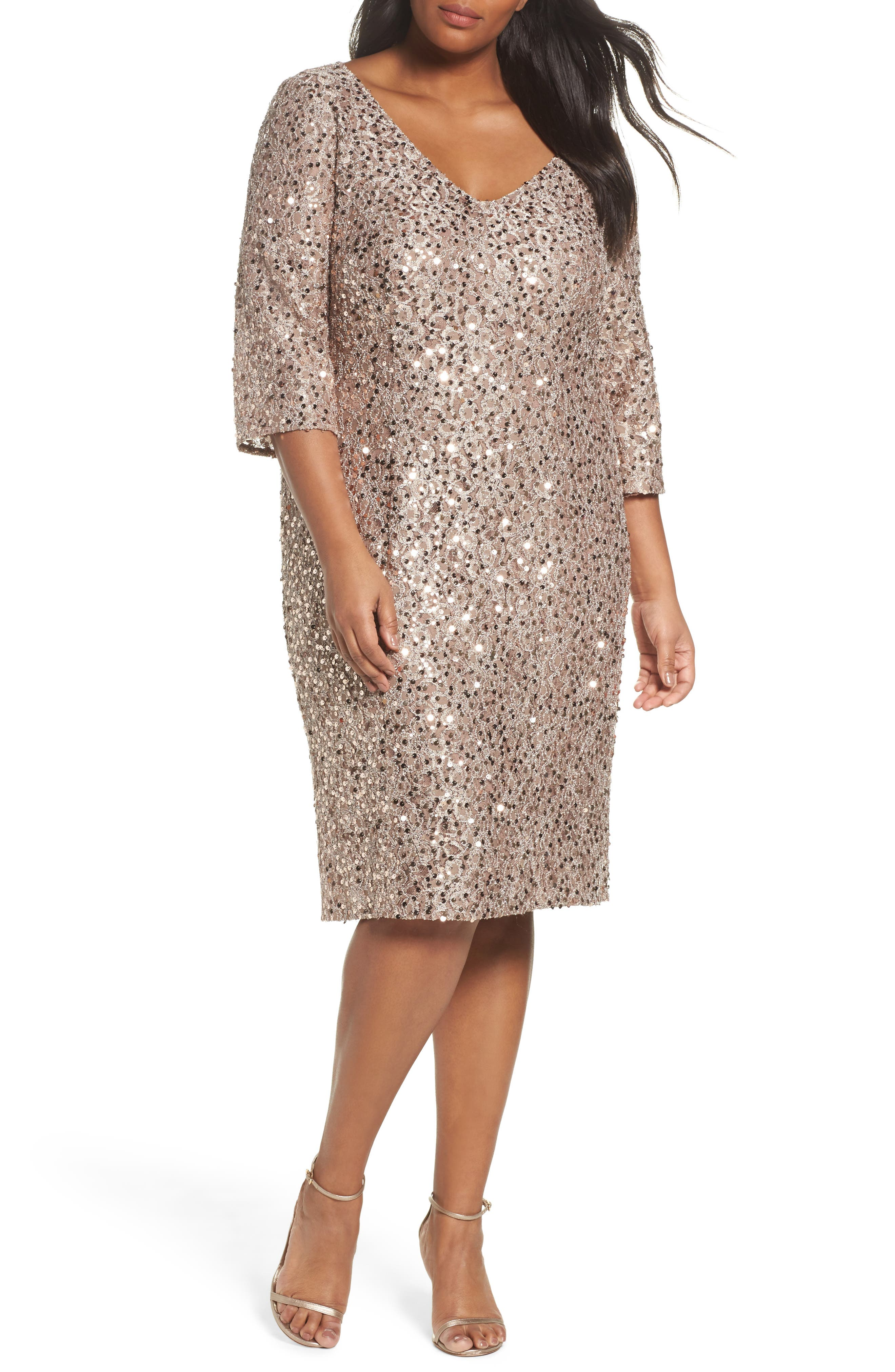 Sequin Shift Dress,                         Main,                         color, Taupe