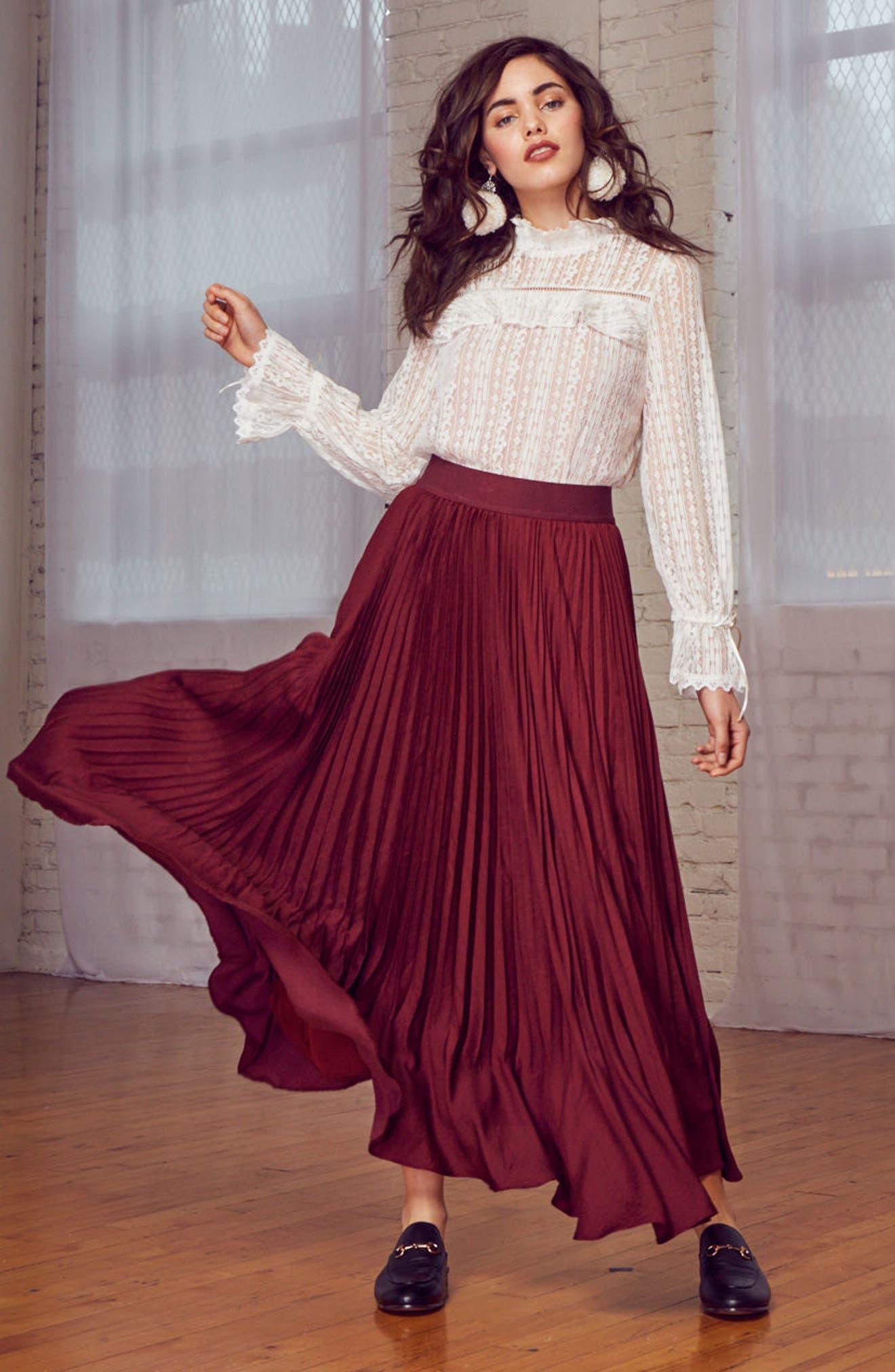 Pleated Midi Skirt,                             Alternate thumbnail 7, color,                             Burgundy