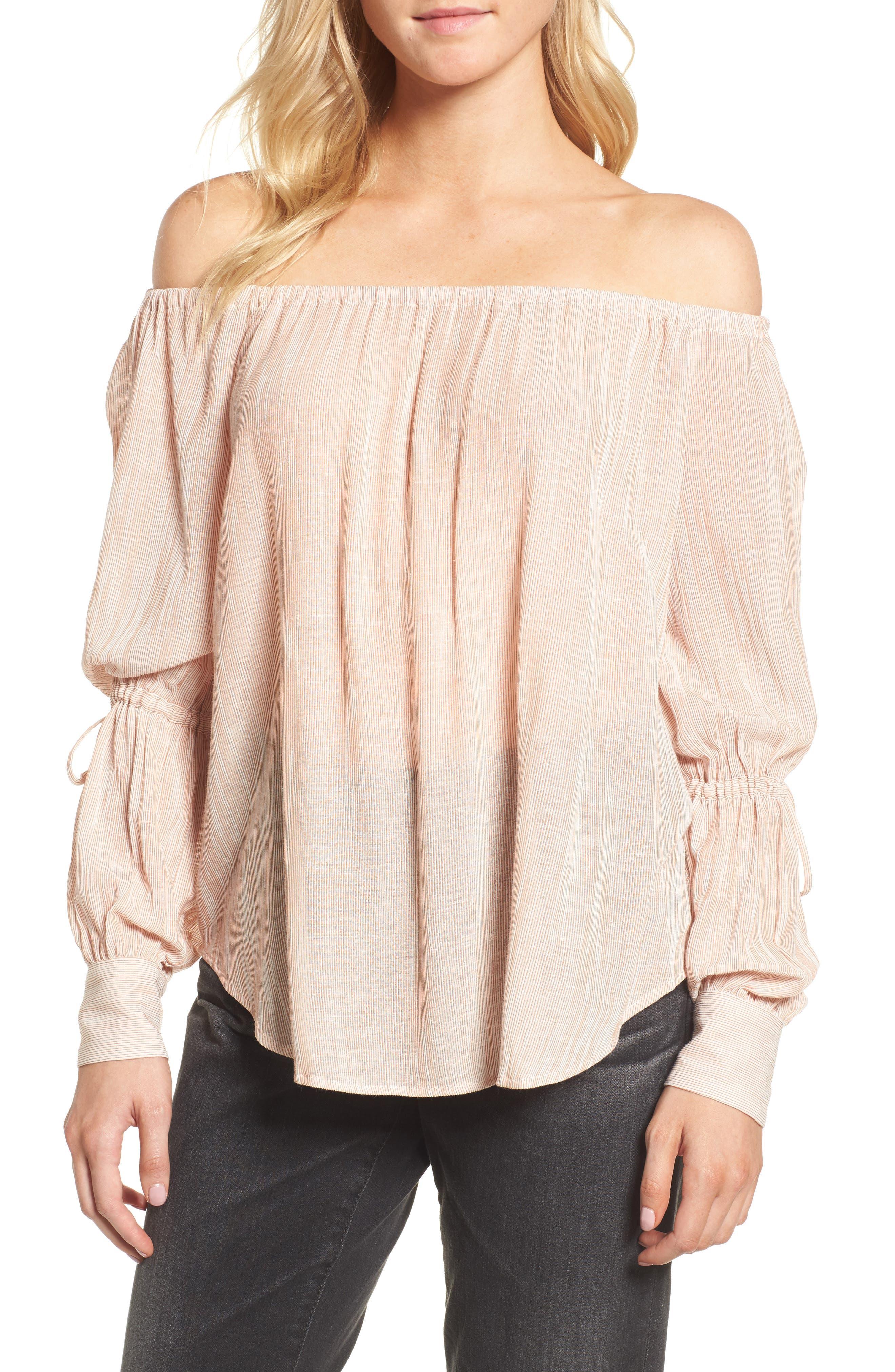 Tallulah Off the Shoulder Blouse,                         Main,                         color, Burnt Umber/ White