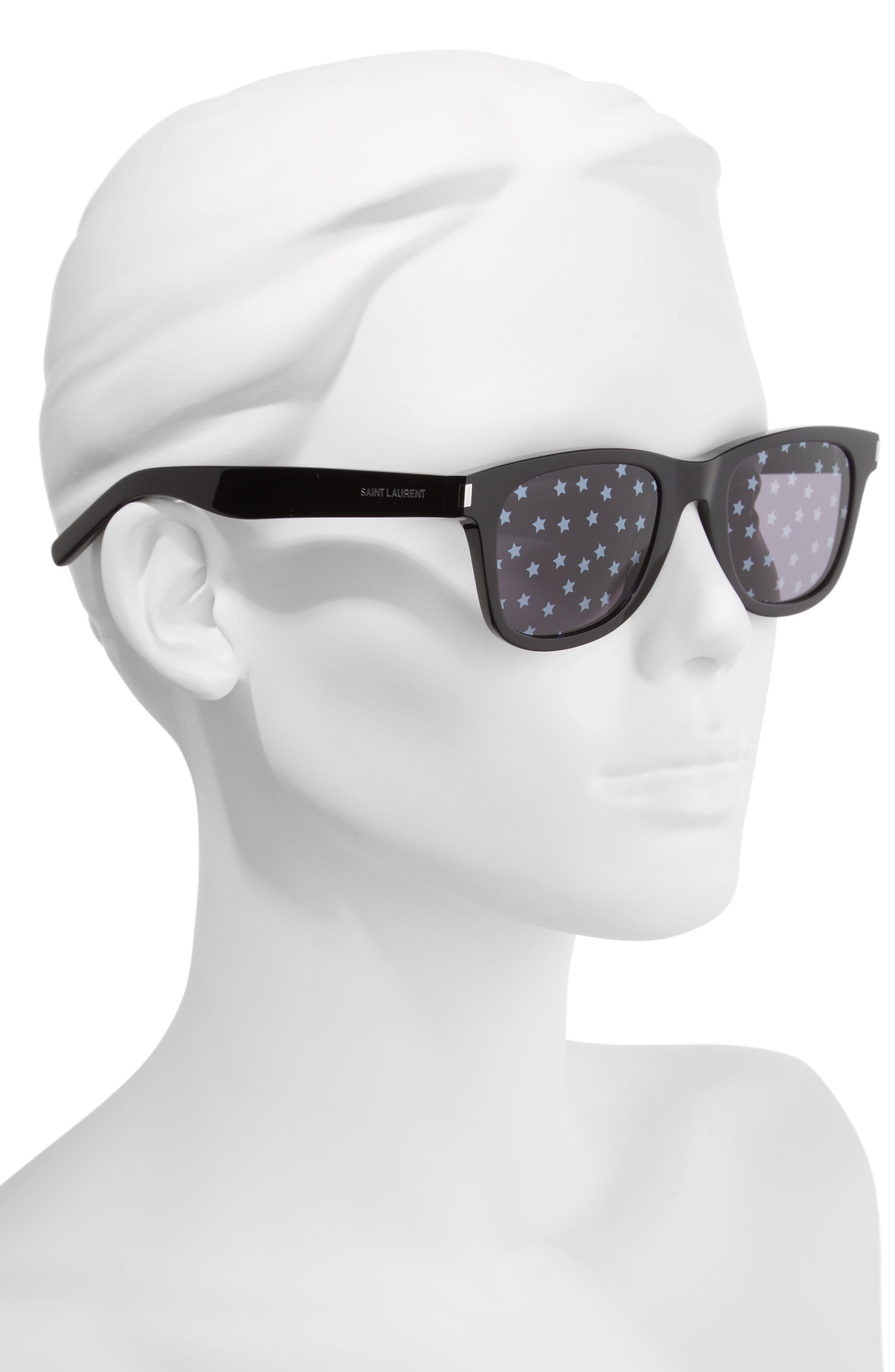 SL51 50mm Sunglasses,                             Alternate thumbnail 2, color,                             Black/ Black
