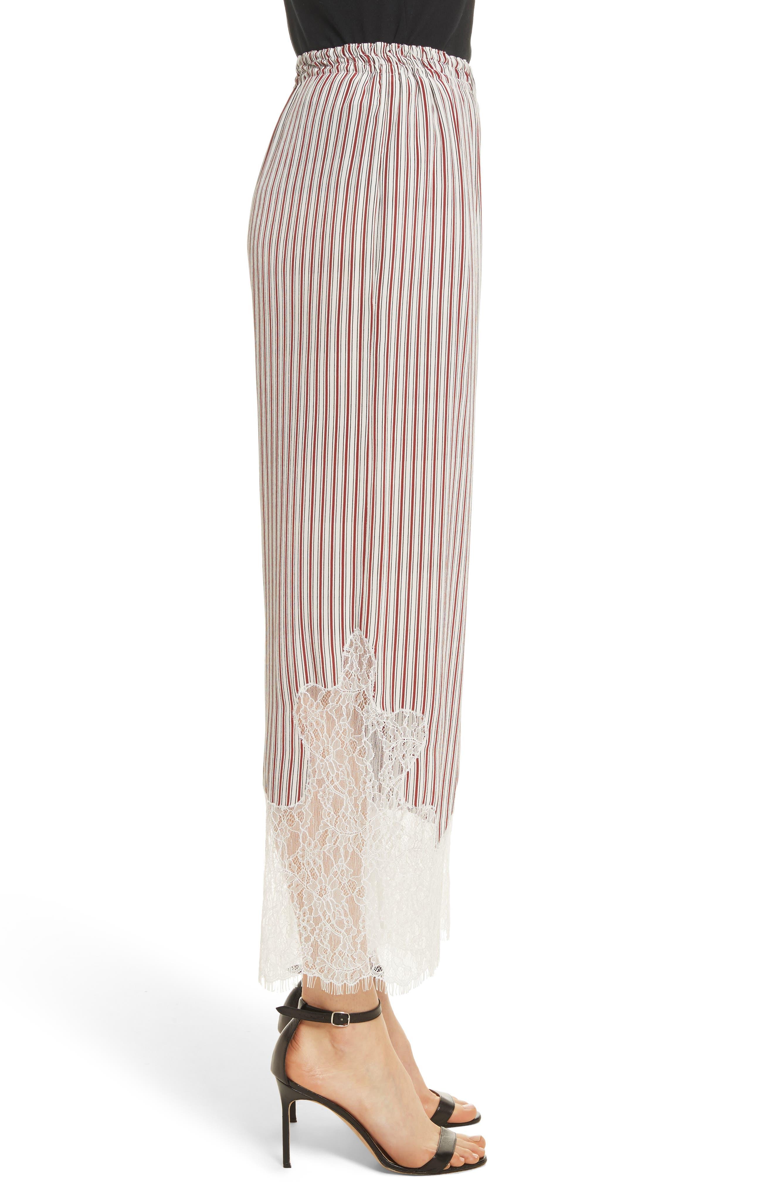 Lace Hem Stripe Pants,                             Alternate thumbnail 3, color,                             Crimson Barcode