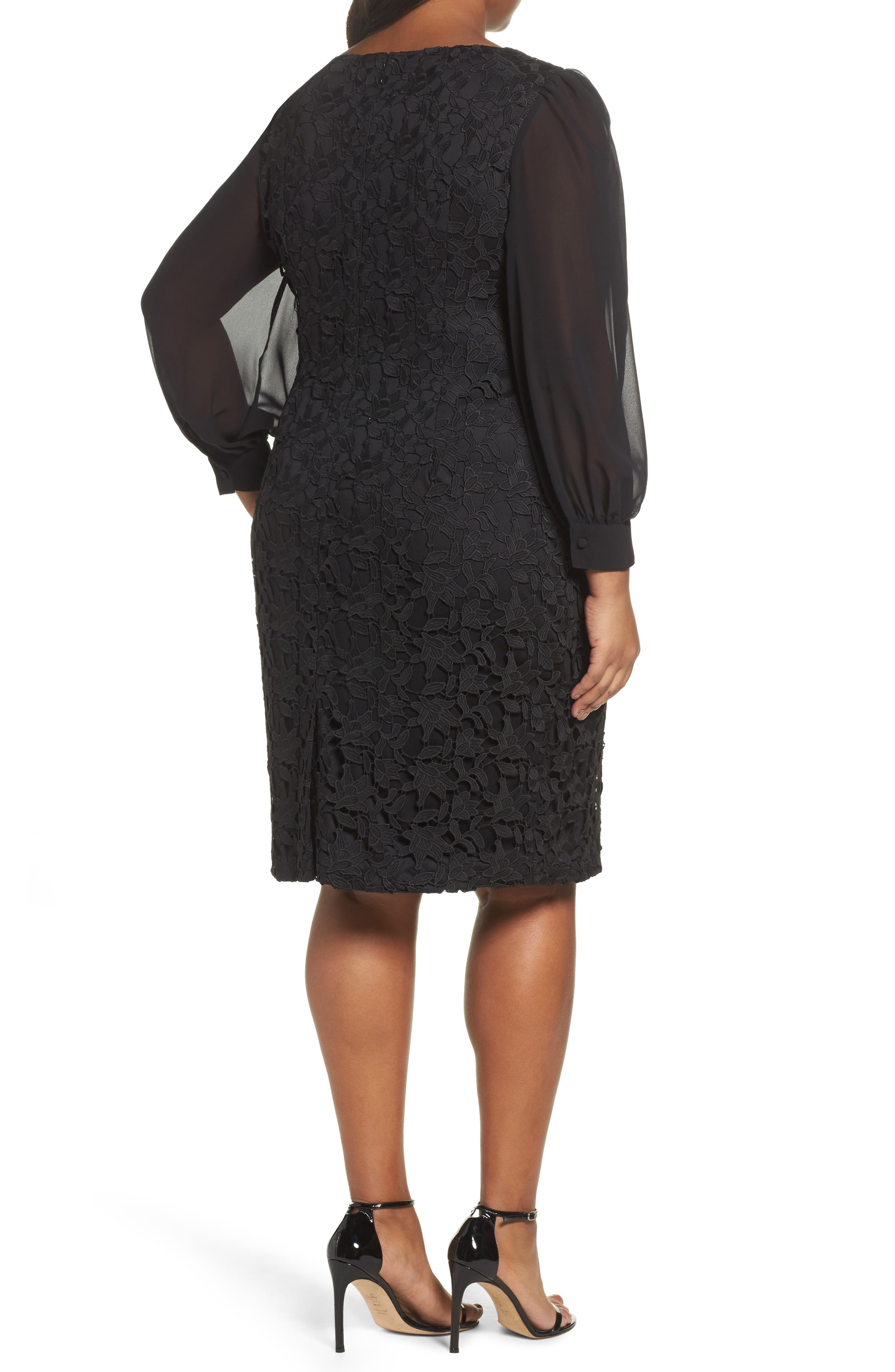 Ava Lace Sheath Dress,                             Alternate thumbnail 2, color,                             Black