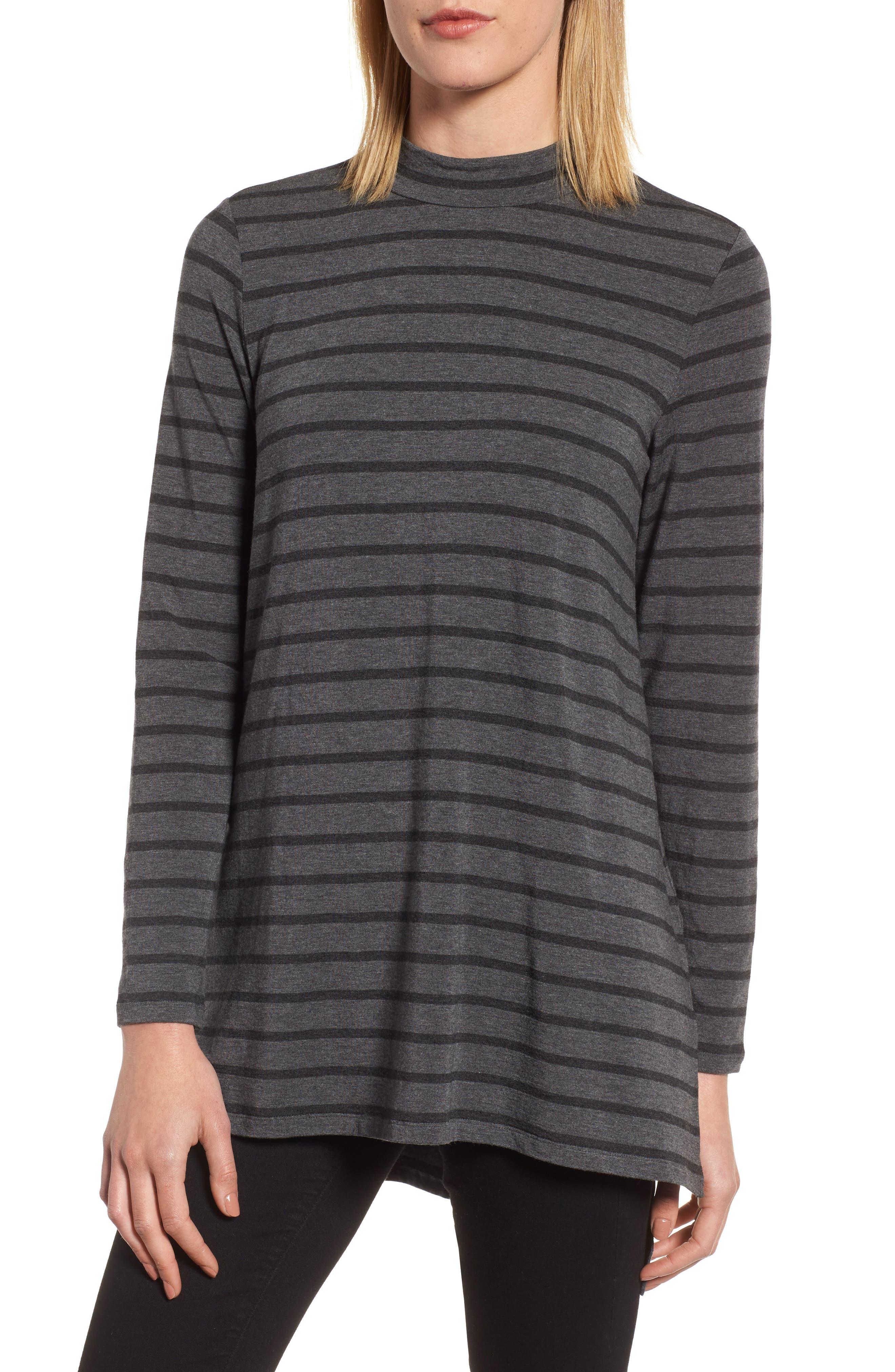 Stripe Stretch Tencel<sup>®</sup> Tunic,                         Main,                         color, Charcoal Ash